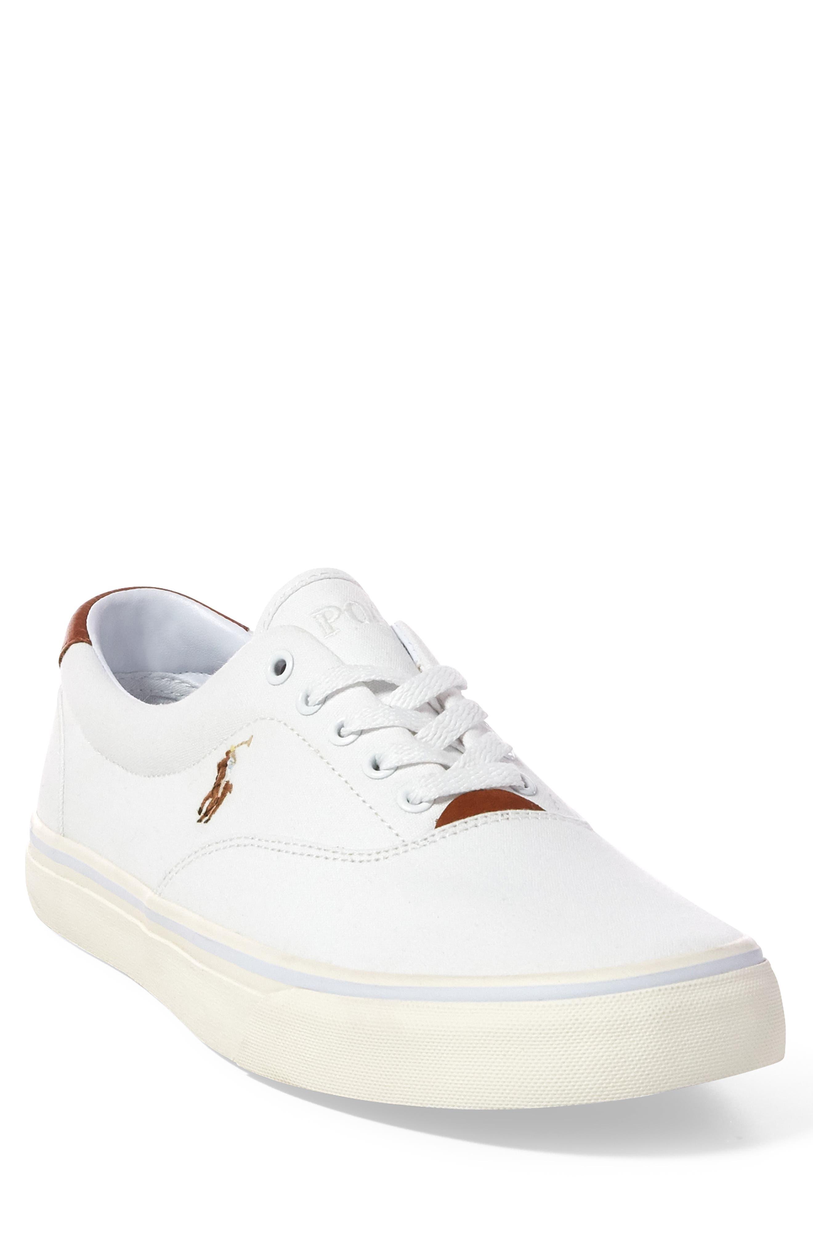 POLO RALPH LAUREN,                             Thorton Low Top Sneaker,                             Alternate thumbnail 5, color,                             WHITE CANVAS