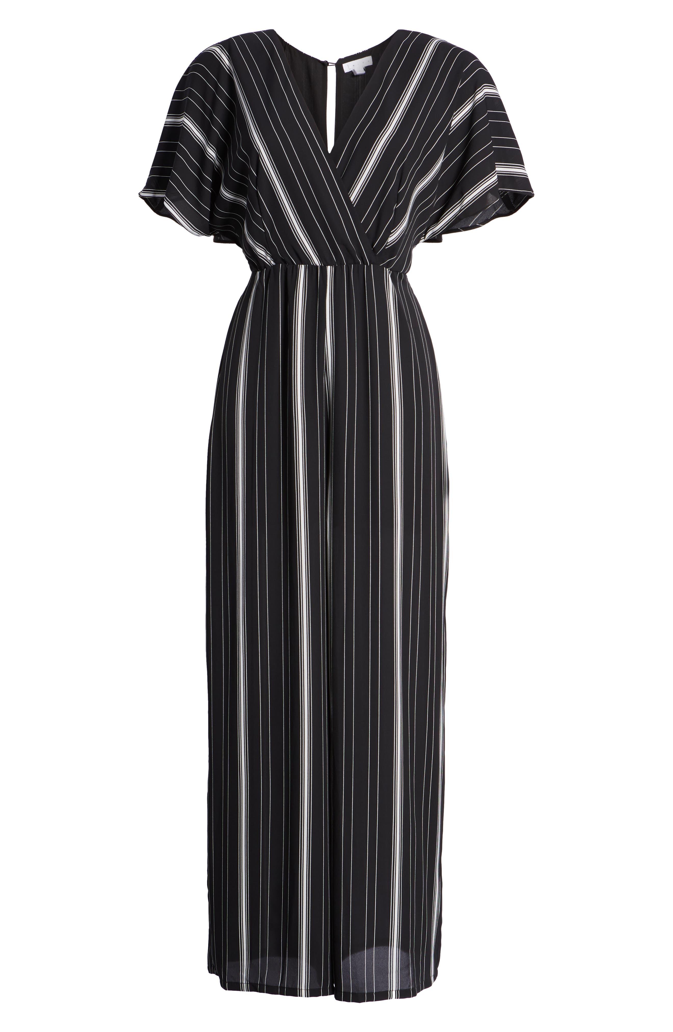 Dolman Sleeve Jumpsuit,                             Alternate thumbnail 7, color,                             BLACK TRACY STRIPE
