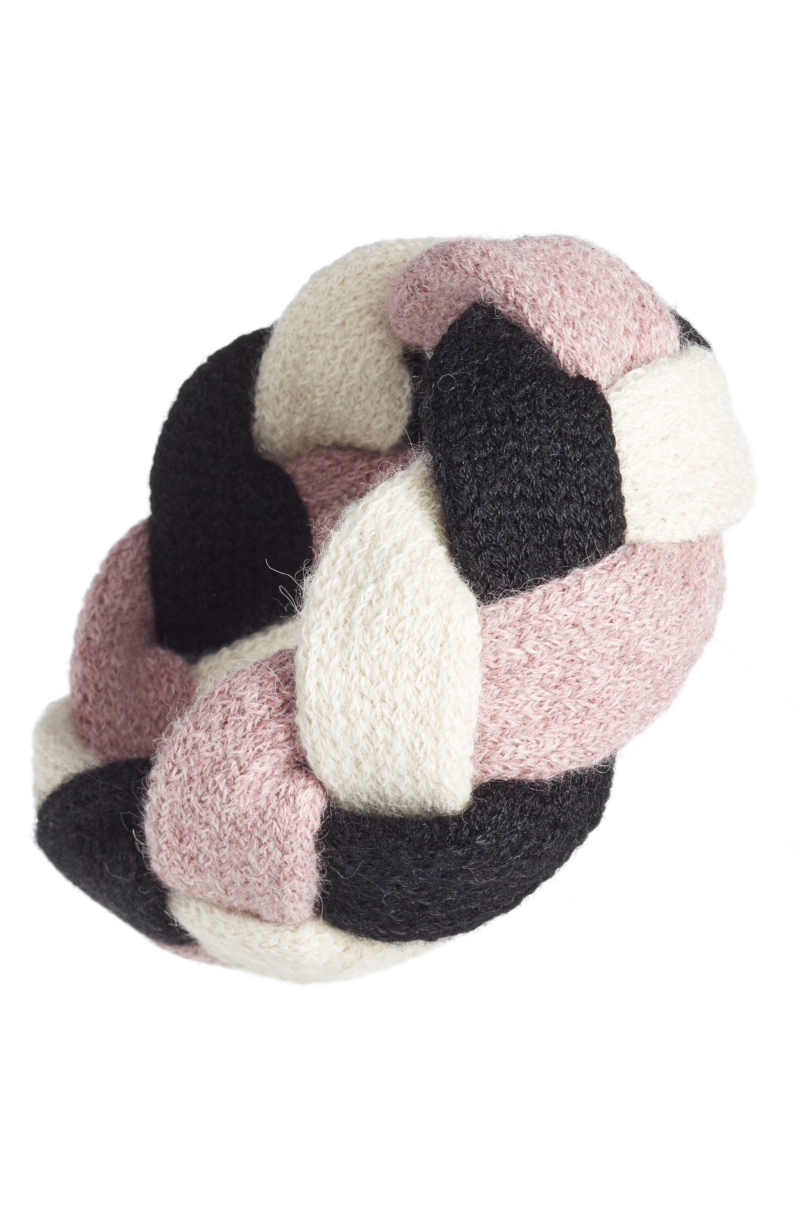 Ann Alpaca Braided Headband,                         Main,                         color, BLACK/ WHITE/ ROSE