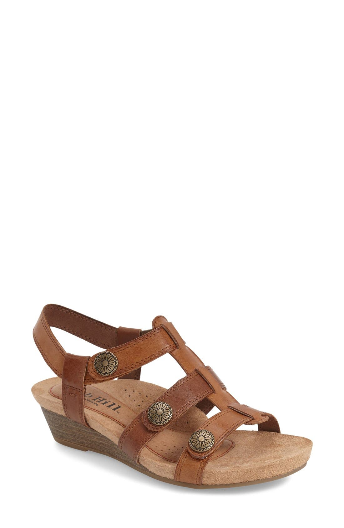'Harper' Wedge Sandal,                         Main,                         color, TAN LEATHER