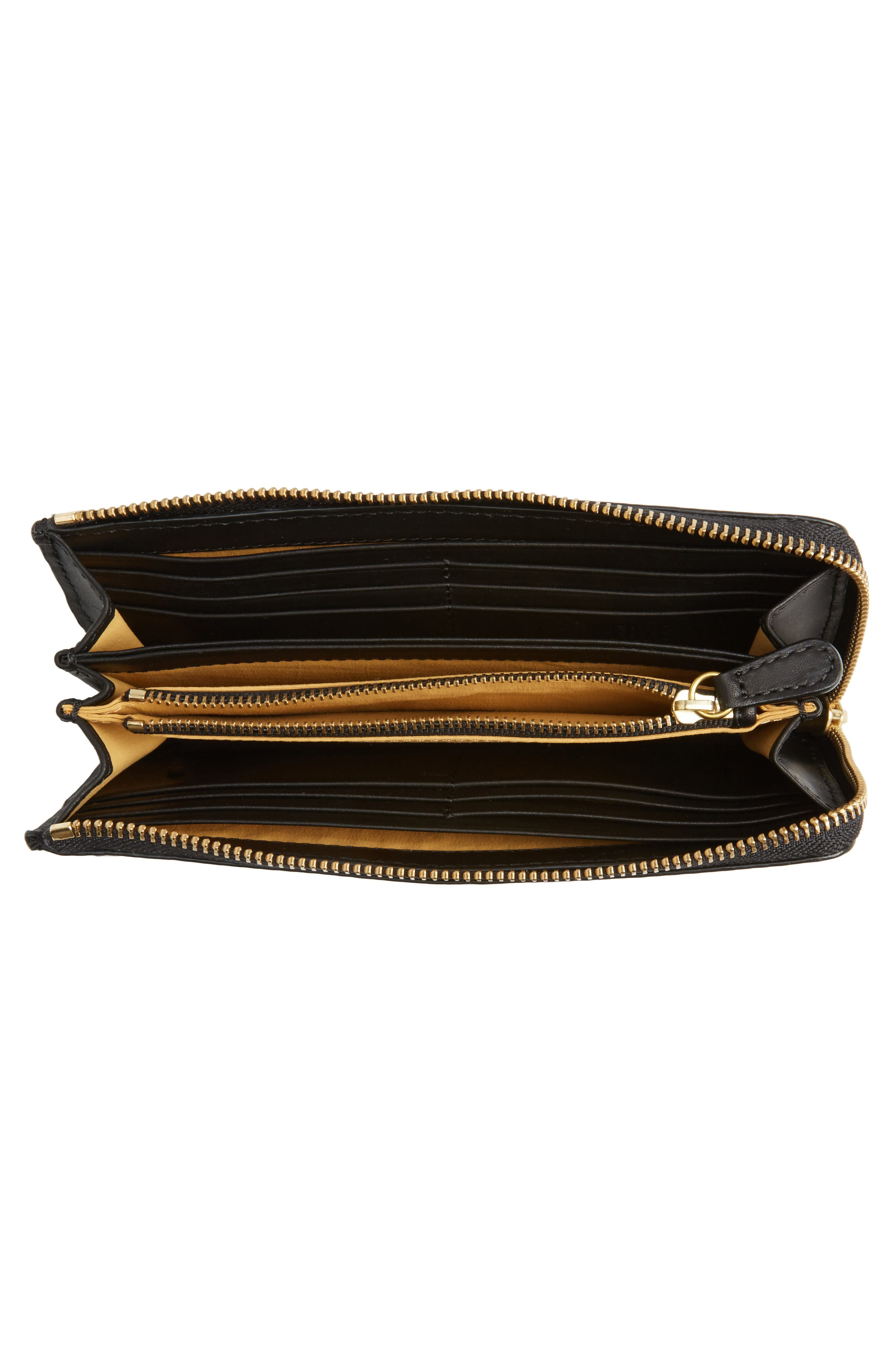 Large Ilana Harness Leather Zip Wallet,                             Alternate thumbnail 4, color,                             001