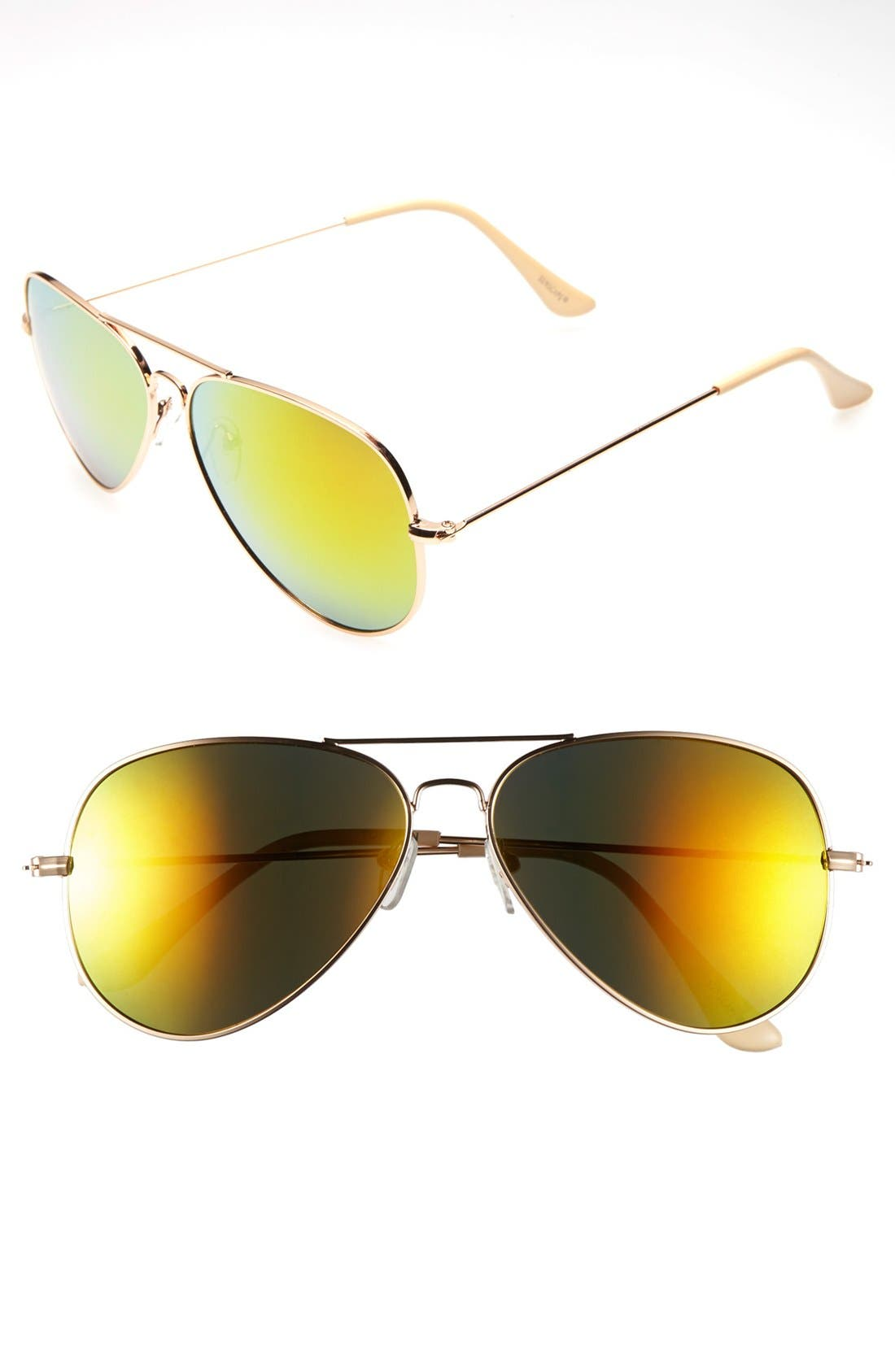 Mirrored Aviator 57mm Sunglasses,                             Main thumbnail 13, color,
