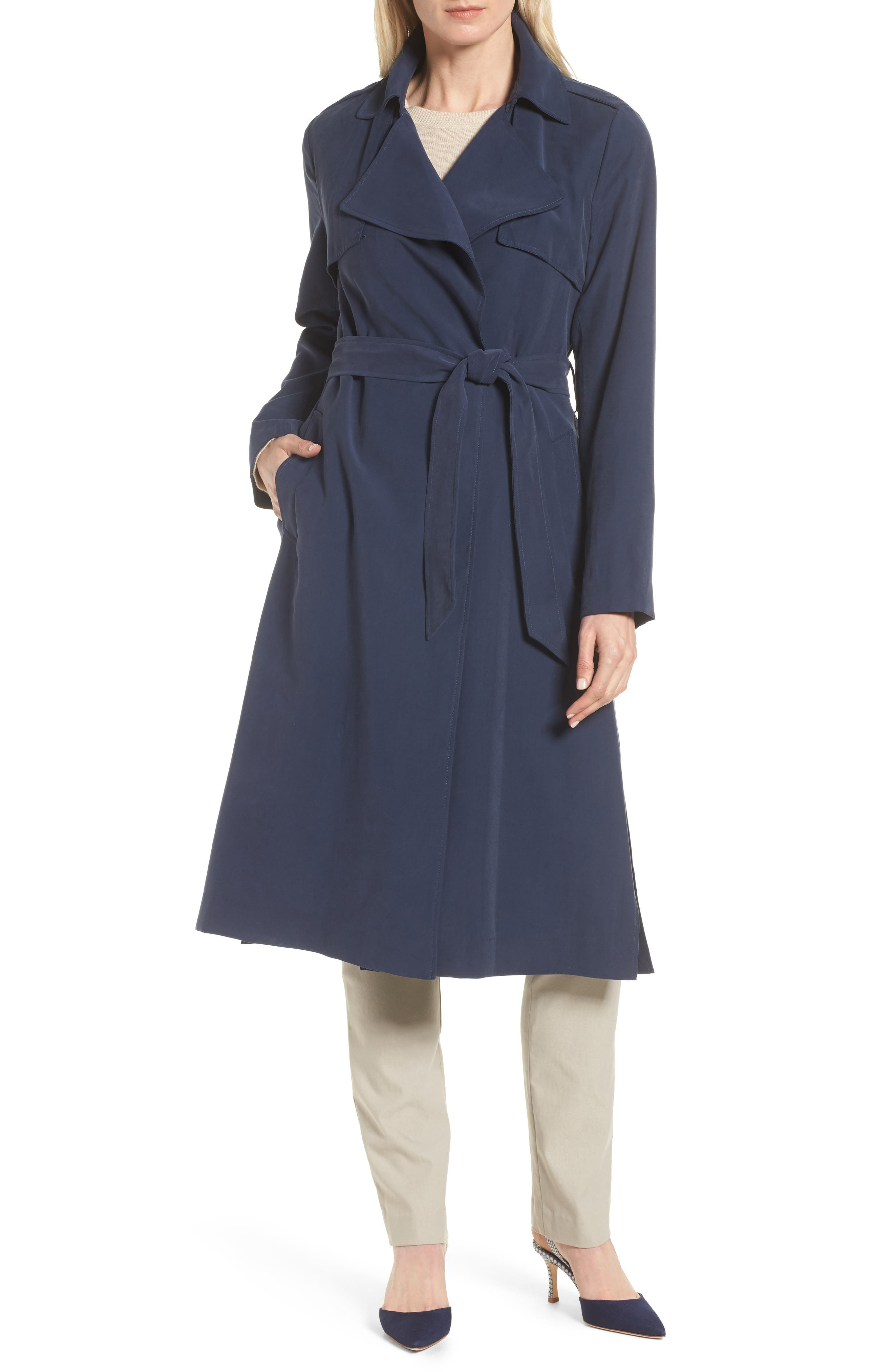 Long Drapey Trench Coat,                             Main thumbnail 1, color,                             410