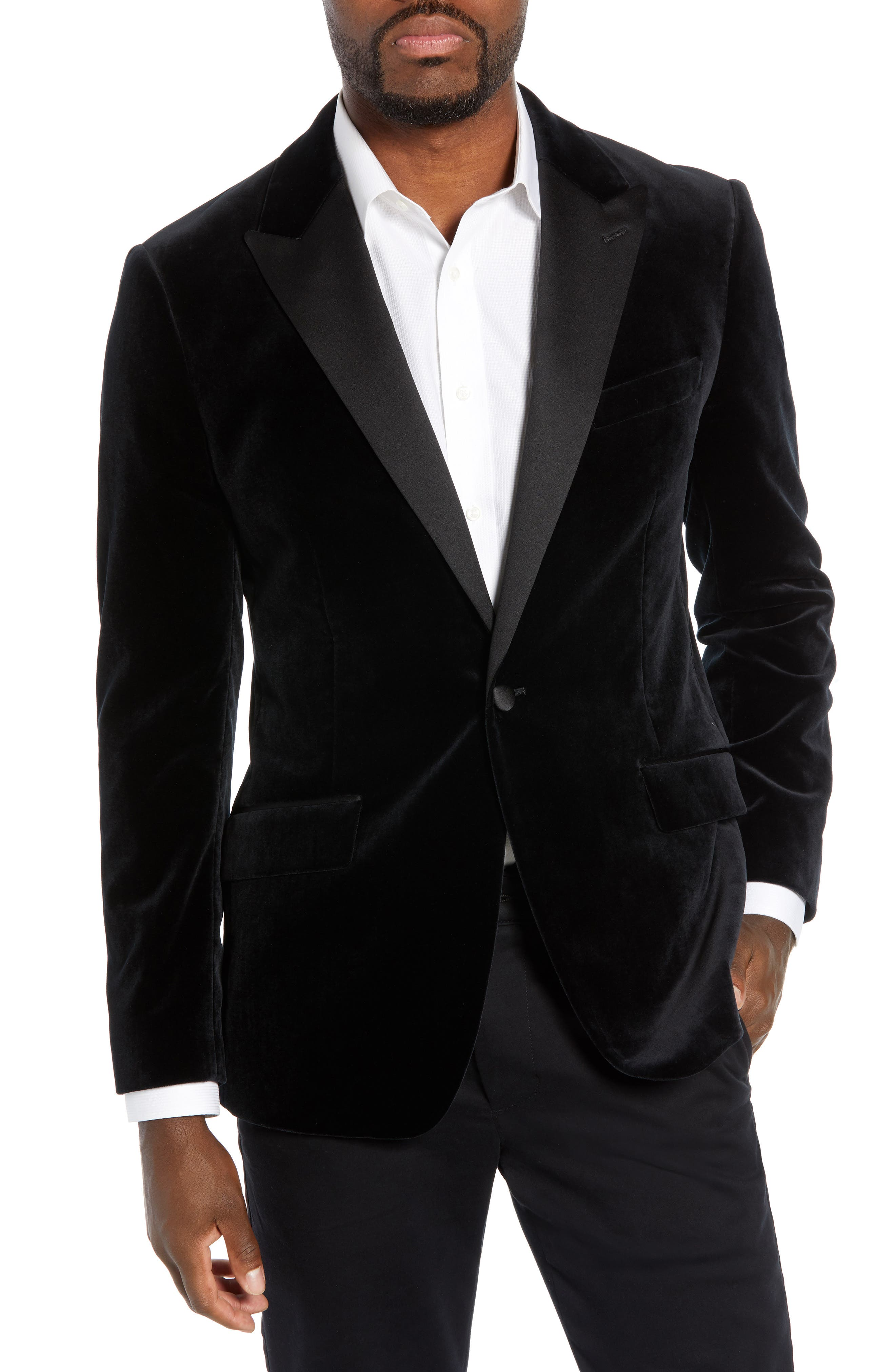 Jetsetter Trim Fit Stretch Velvet Dinner Jacket,                         Main,                         color, BLACK