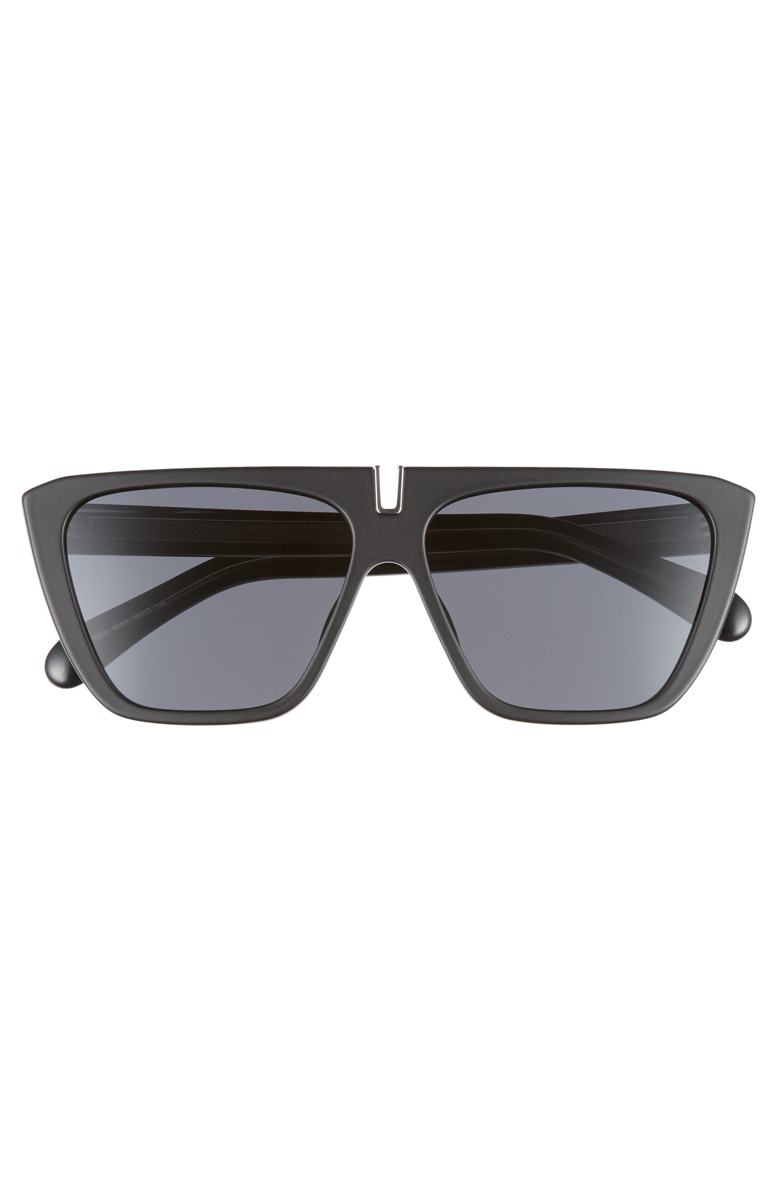58mm Flat Top Sunglasses,                             Alternate thumbnail 2, color,                             MATTE BLACK