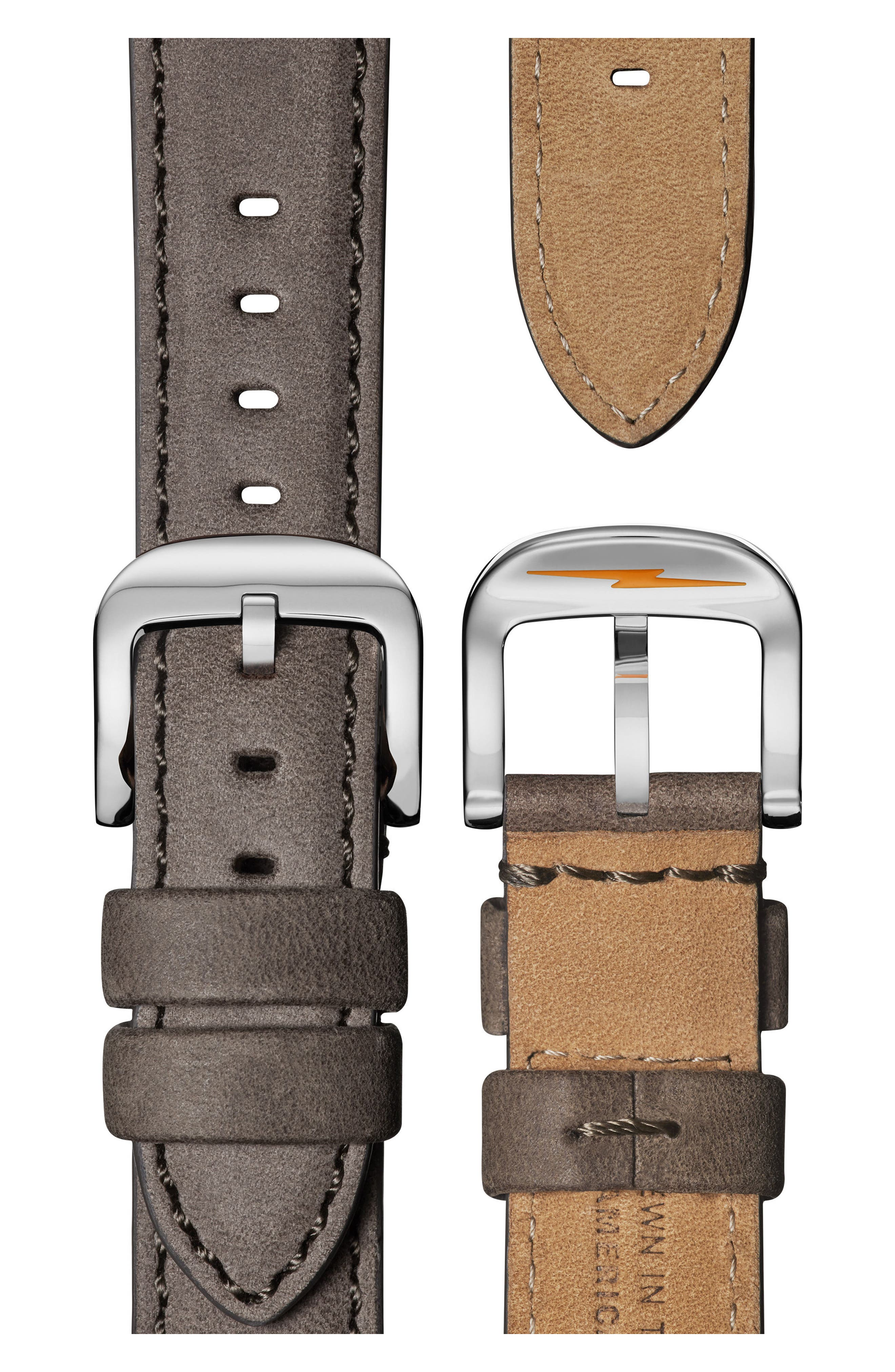 The Guardian Leather Strap Watch, 36mm,                             Alternate thumbnail 4, color,                             GREY/ NUDE PINK/ SILVER