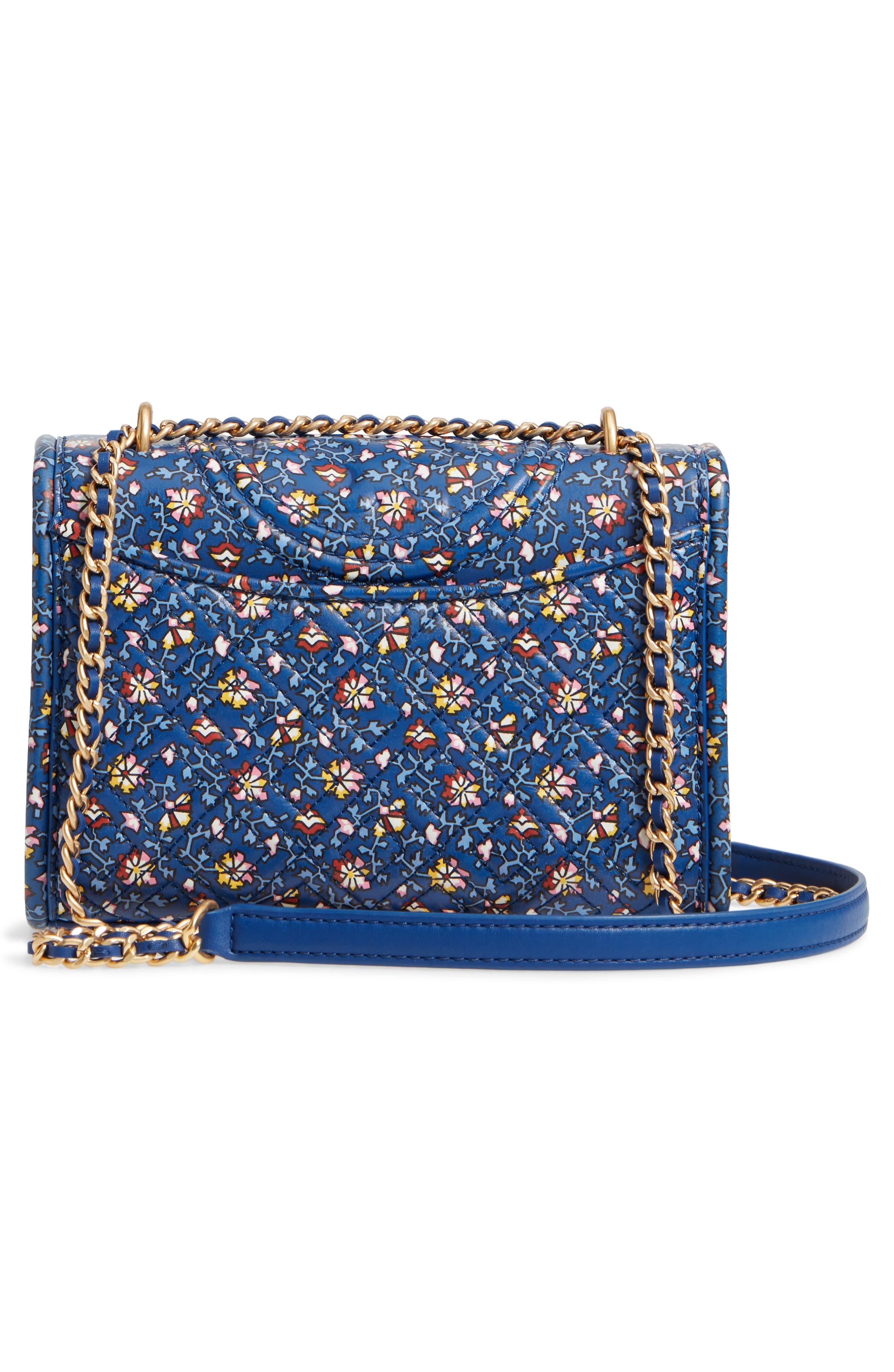 Fleming Print Leather Convertible Shoulder Bag,                             Alternate thumbnail 3, color,                             BLUE WILD PANSY