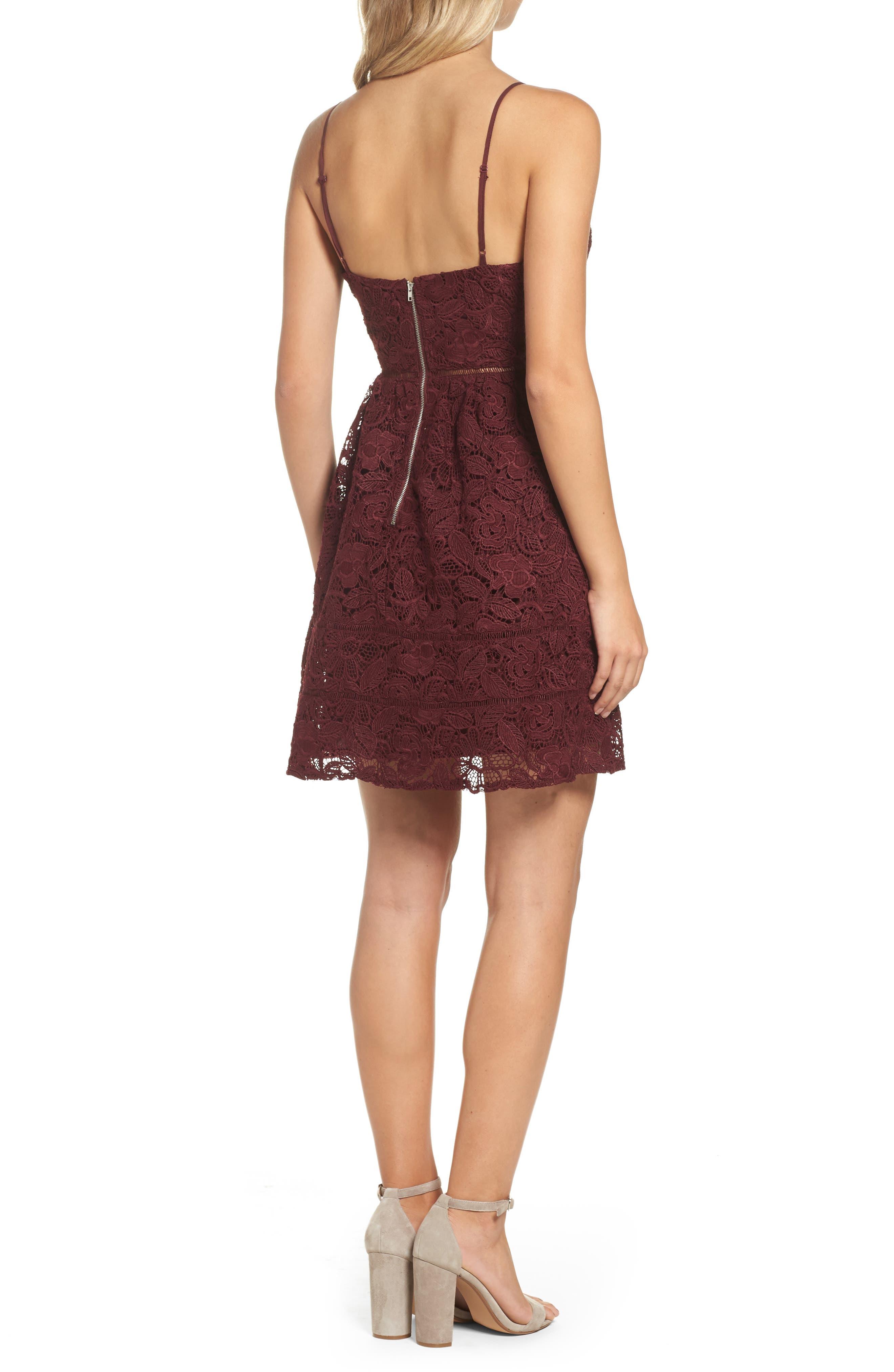 Sutton Lace Fit & Flare Dress,                             Alternate thumbnail 2, color,                             930