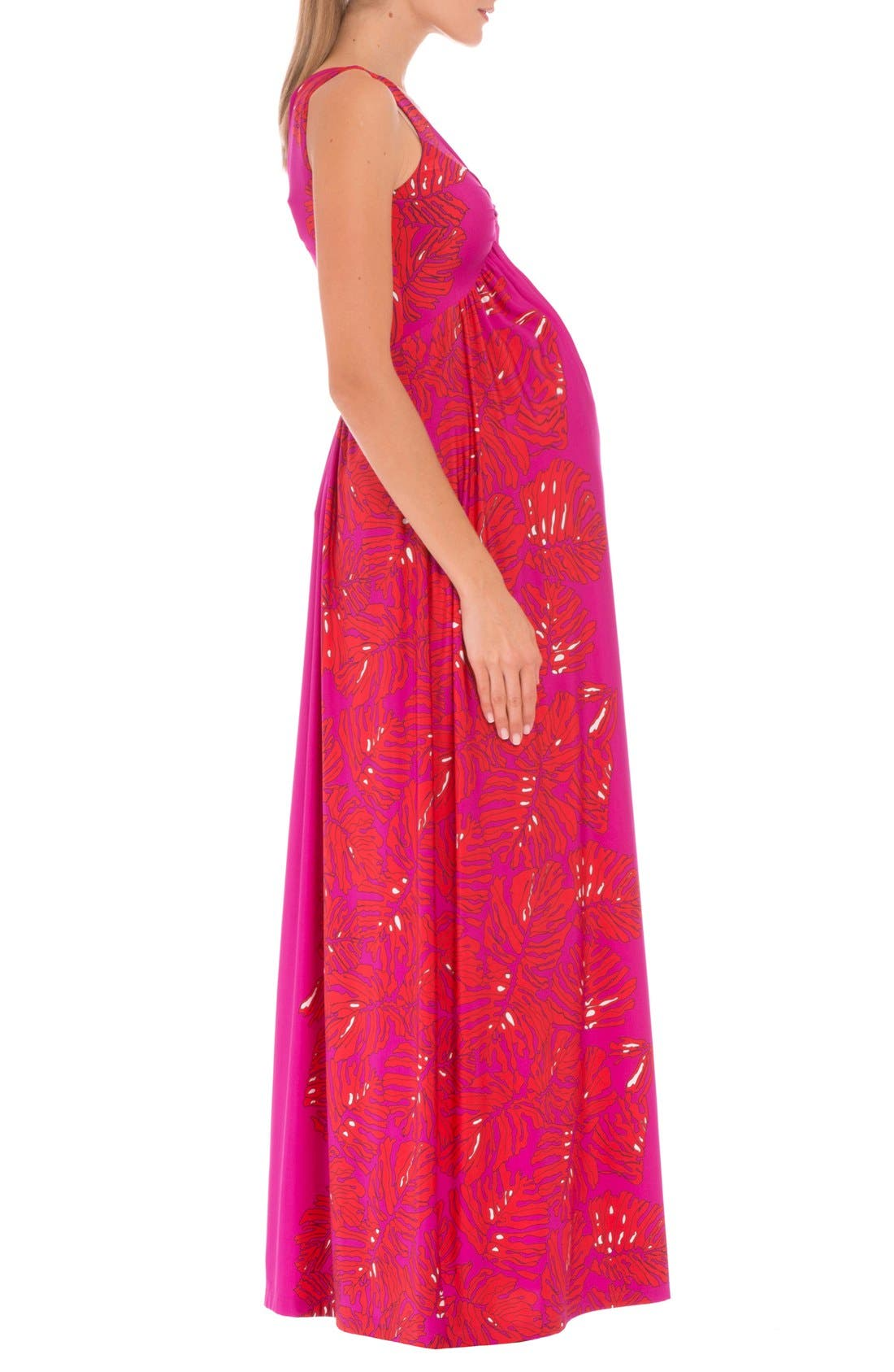 Scarlet Sleeveless Maternity Maxi Dress,                             Alternate thumbnail 3, color,                             RED