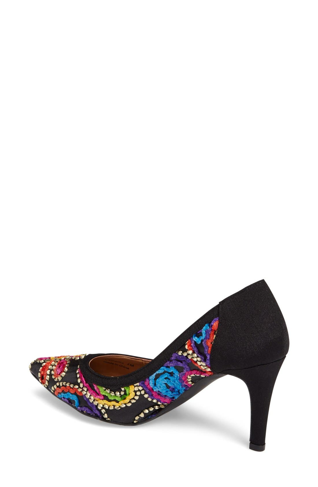 Camall Embroidered Pointy Toe Pump,                             Alternate thumbnail 2, color,                             002