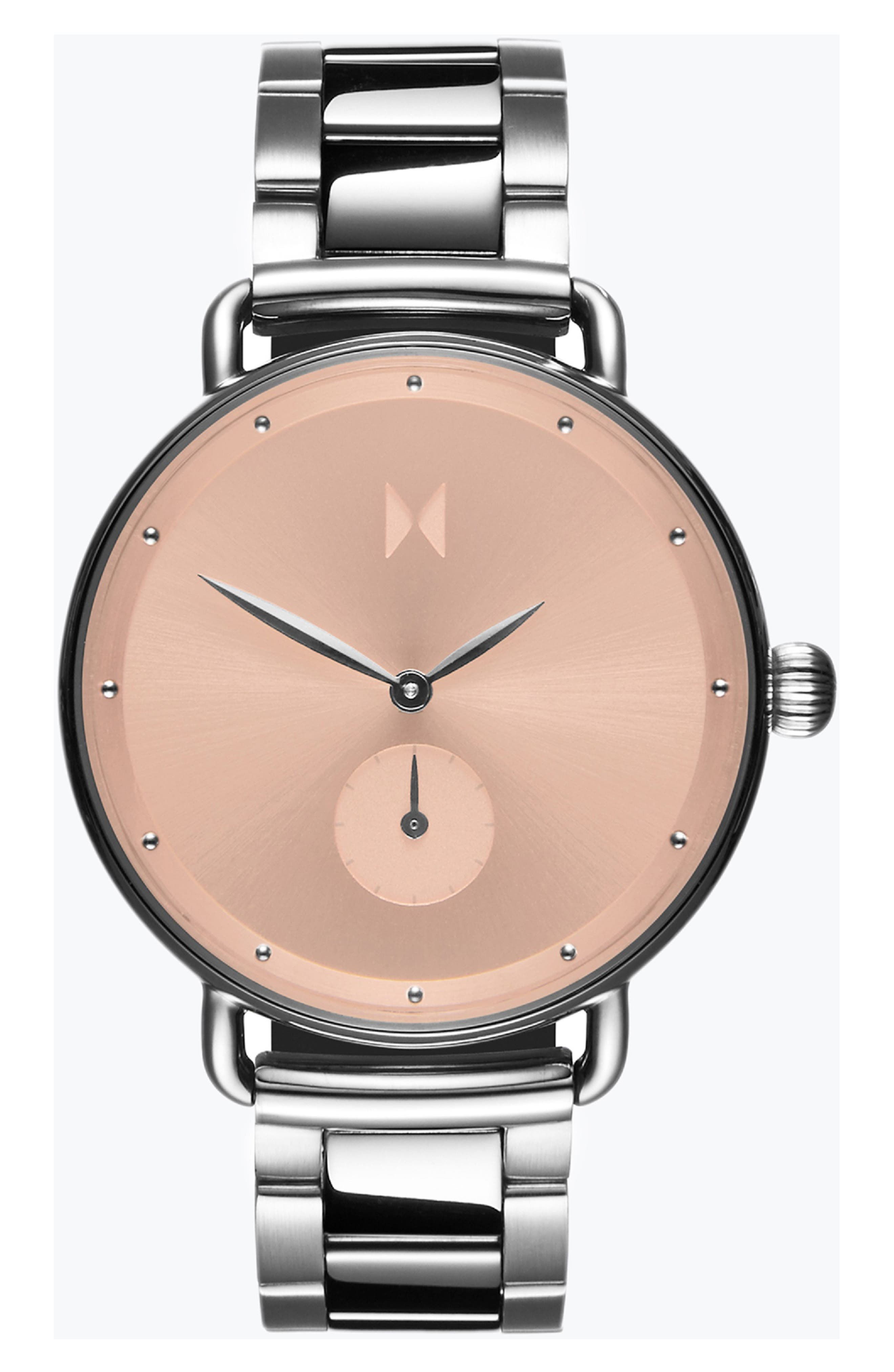 Bloom Bracelet Watch, 36mm,                             Main thumbnail 1, color,                             SILVER/ ROSE GOLD/ SILVER
