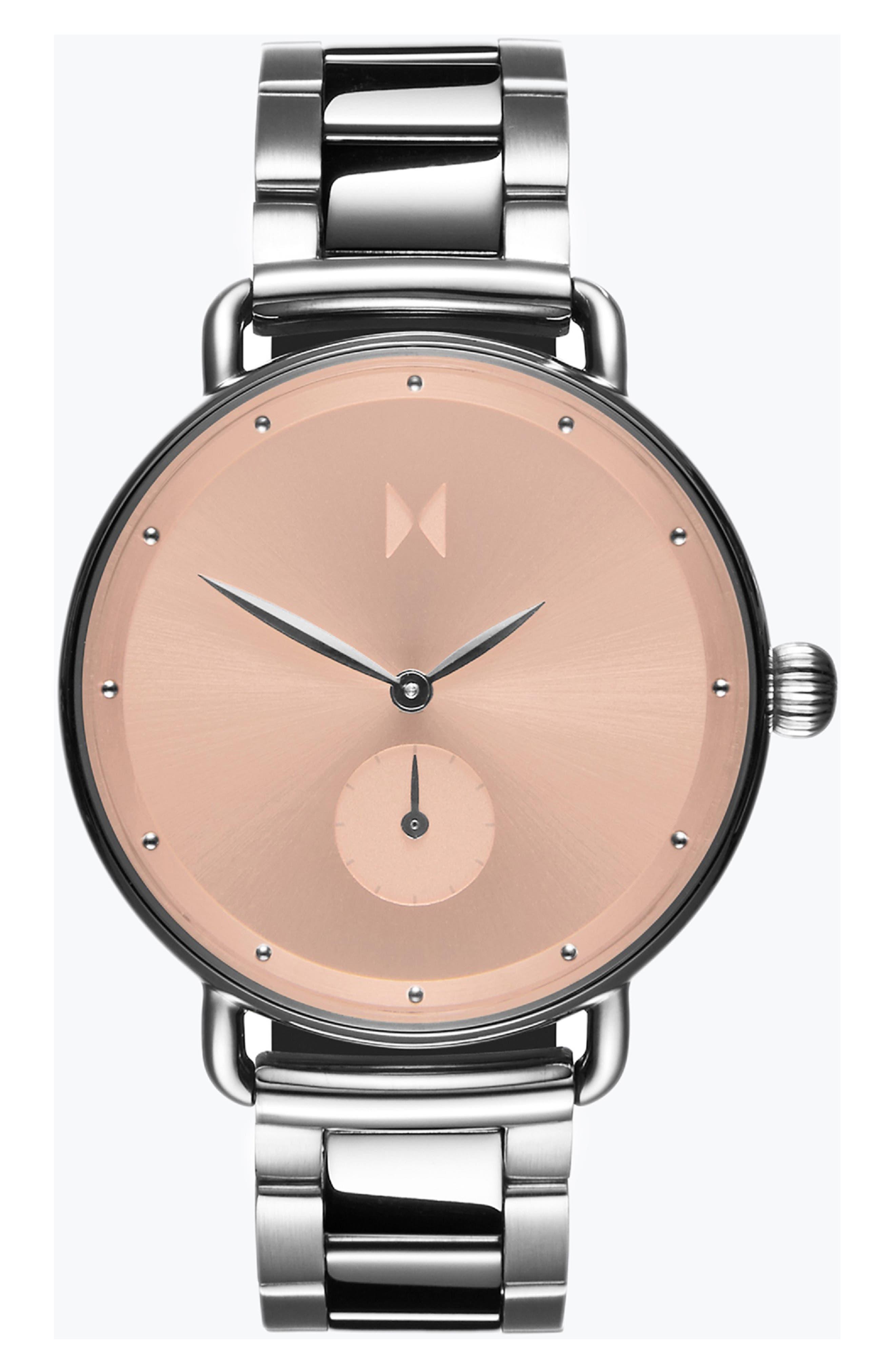 Bloom Bracelet Watch, 36mm, Main, color, SILVER/ ROSE GOLD/ SILVER
