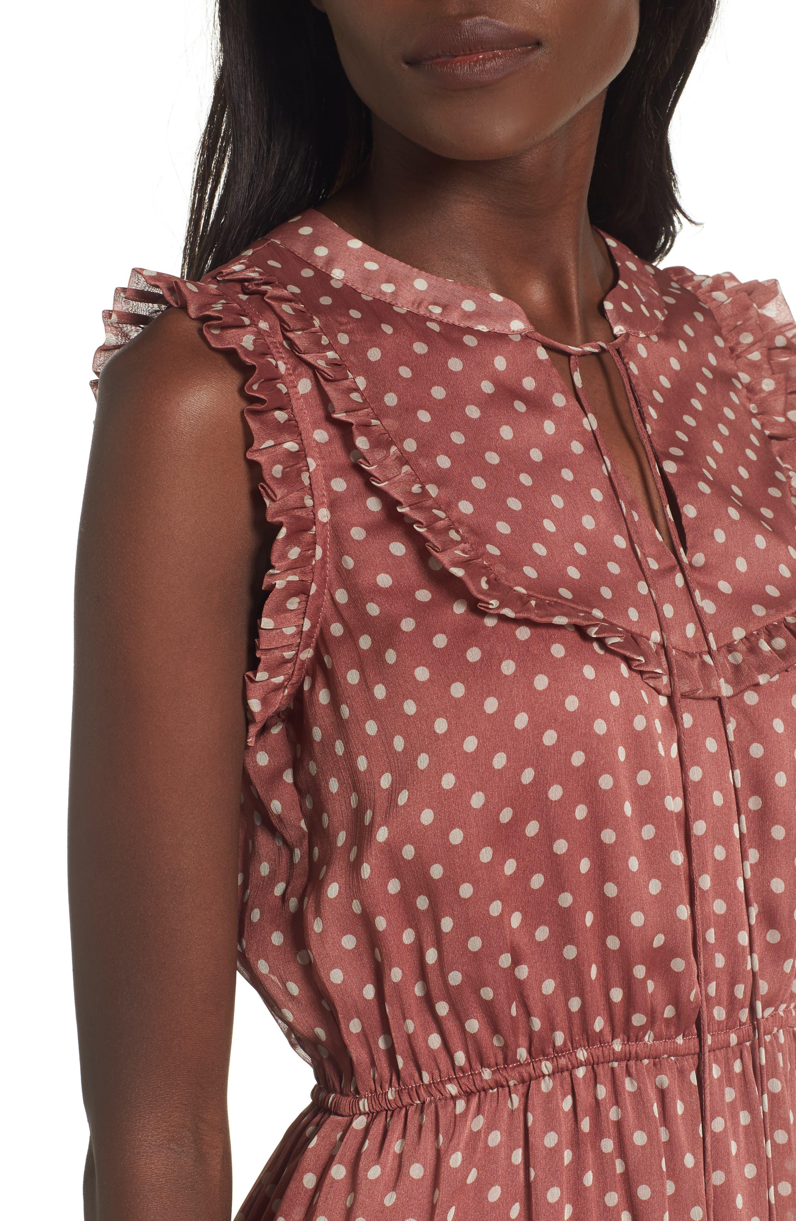 Ruffle Midi Dress,                             Alternate thumbnail 4, color,