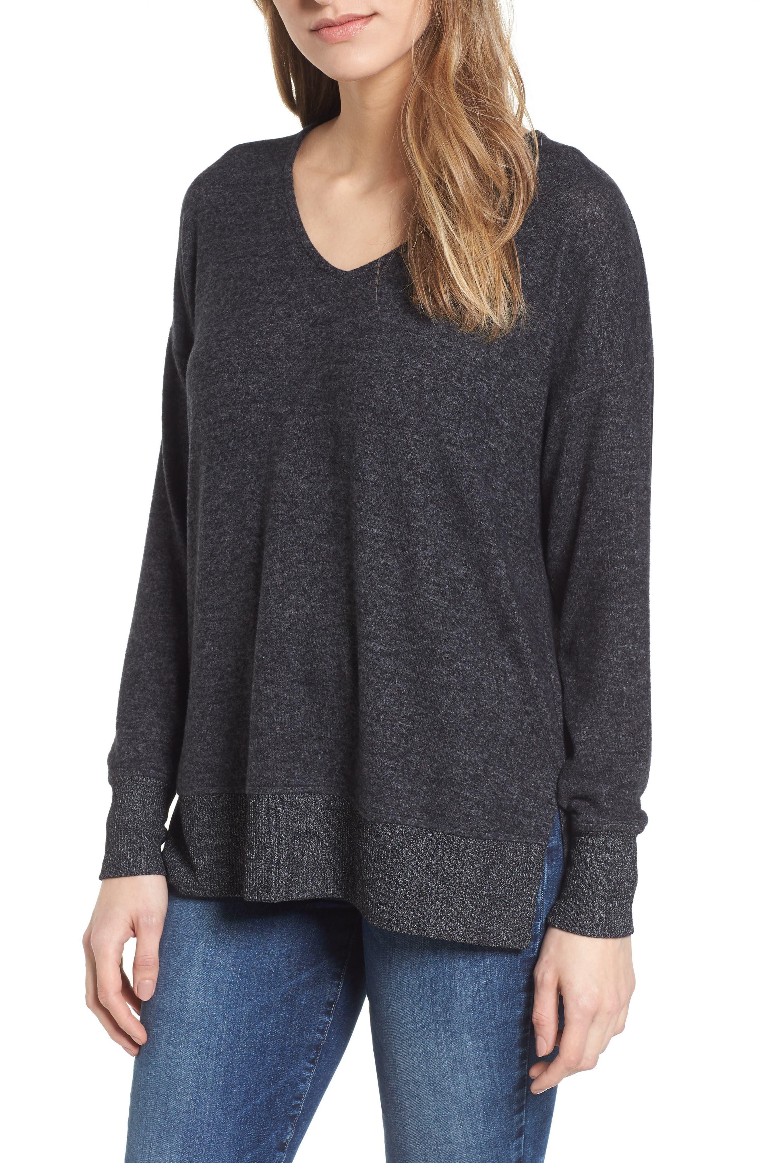 Cozy Sweatshirt,                         Main,                         color, BLACK