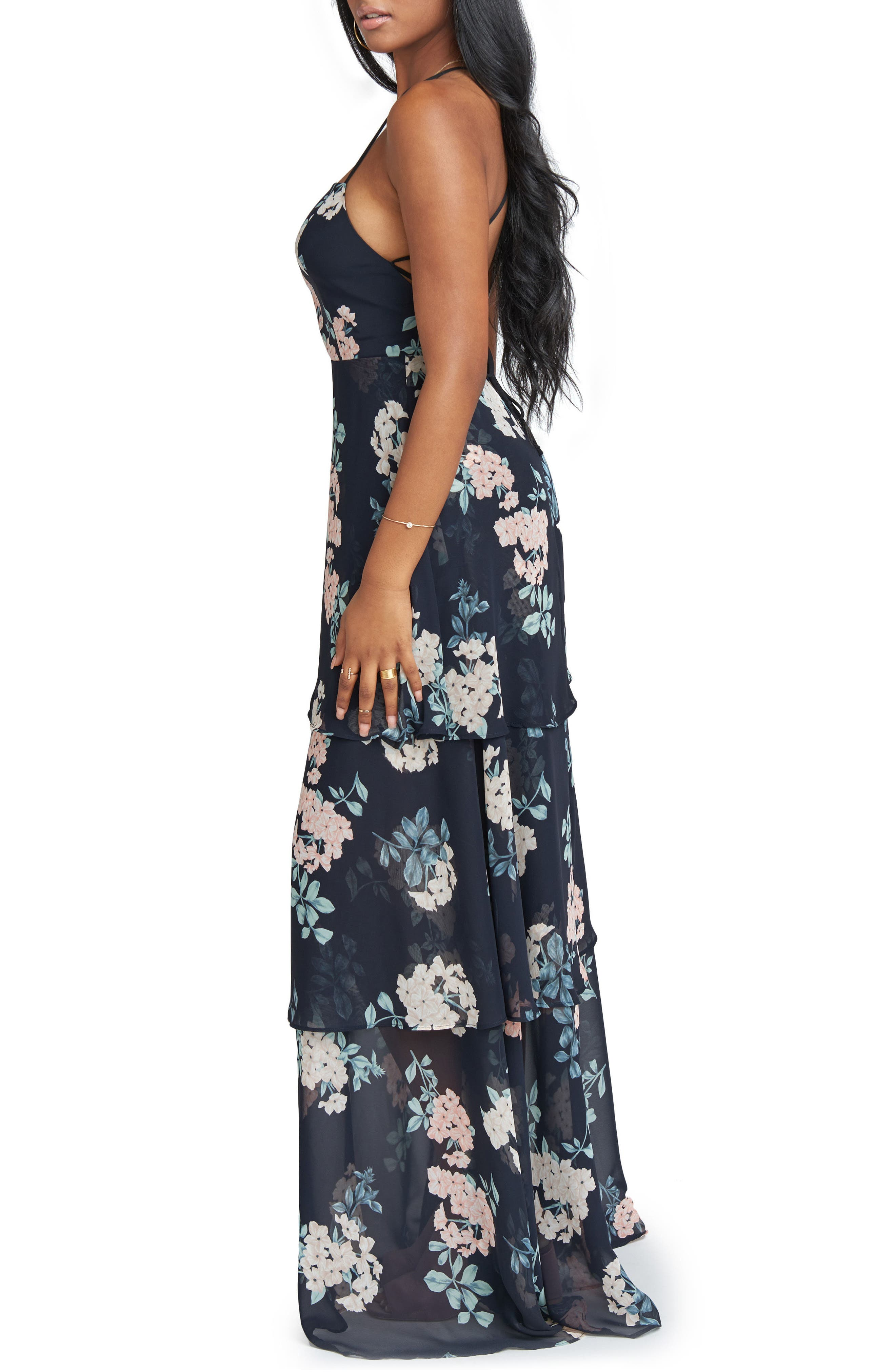Calypso Strappy Tiered Maxi Dress,                             Alternate thumbnail 3, color,                             001