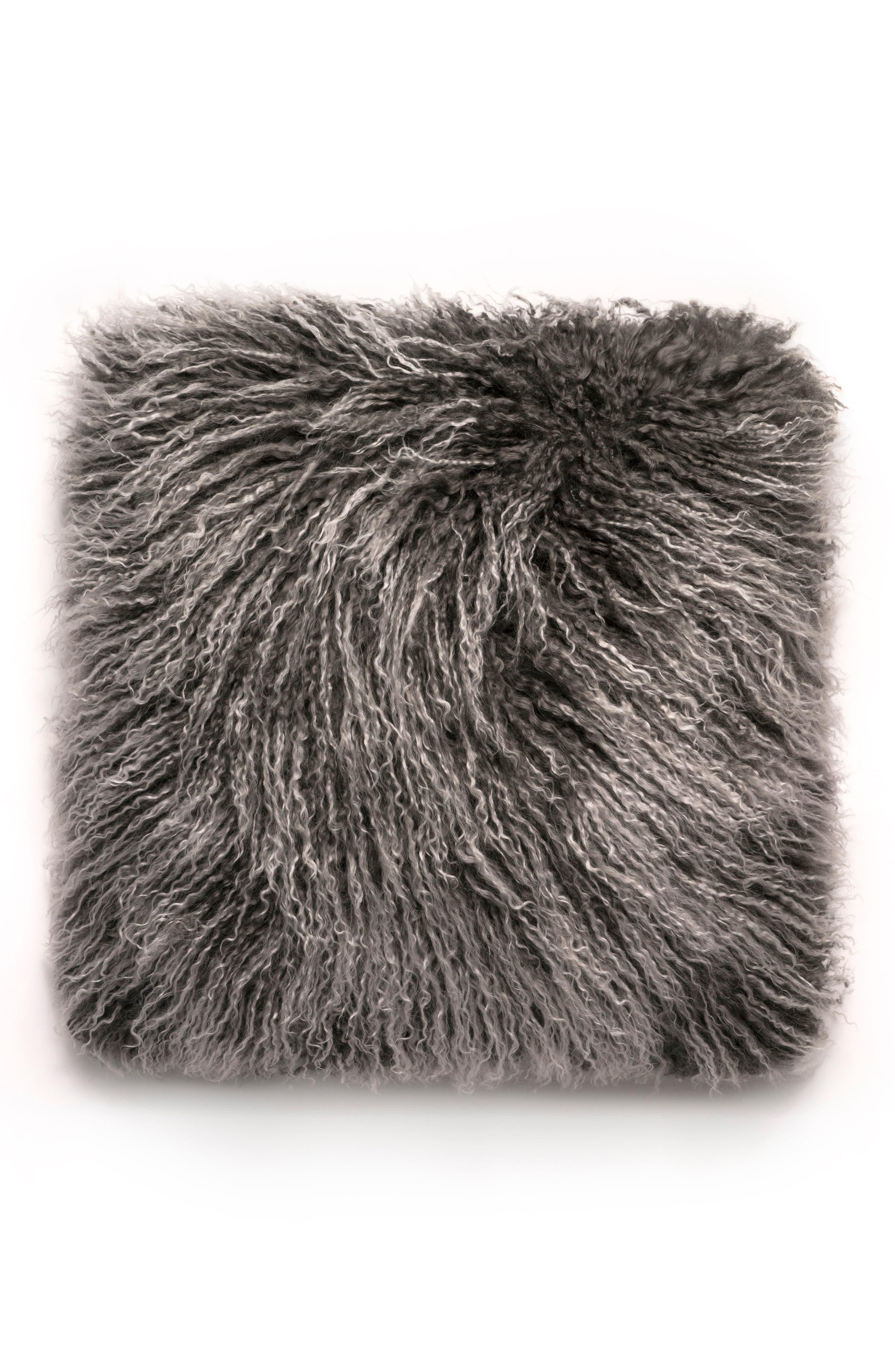 Genuine Mongolian Sheepskin Accent Pillow,                         Main,                         color, 020