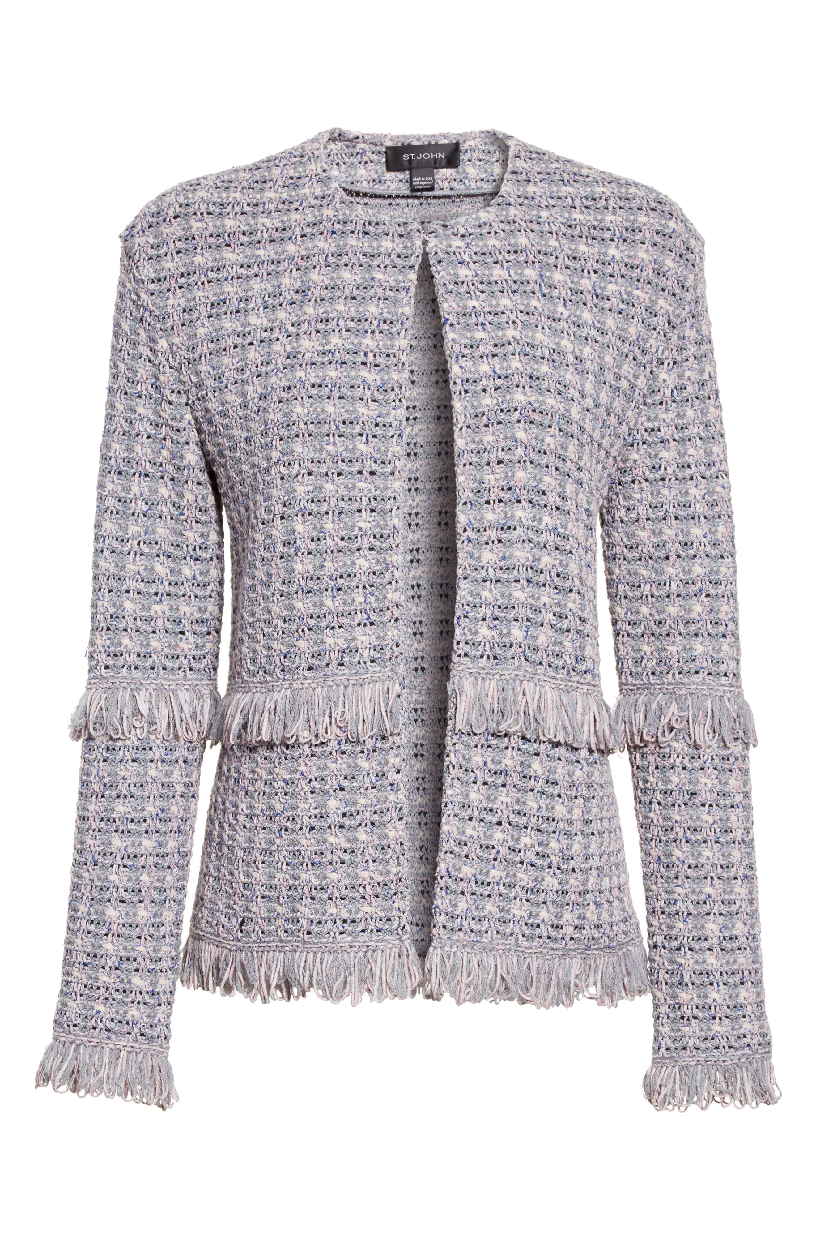 Textural Powder Tweed Jacket,                             Alternate thumbnail 6, color,                             020