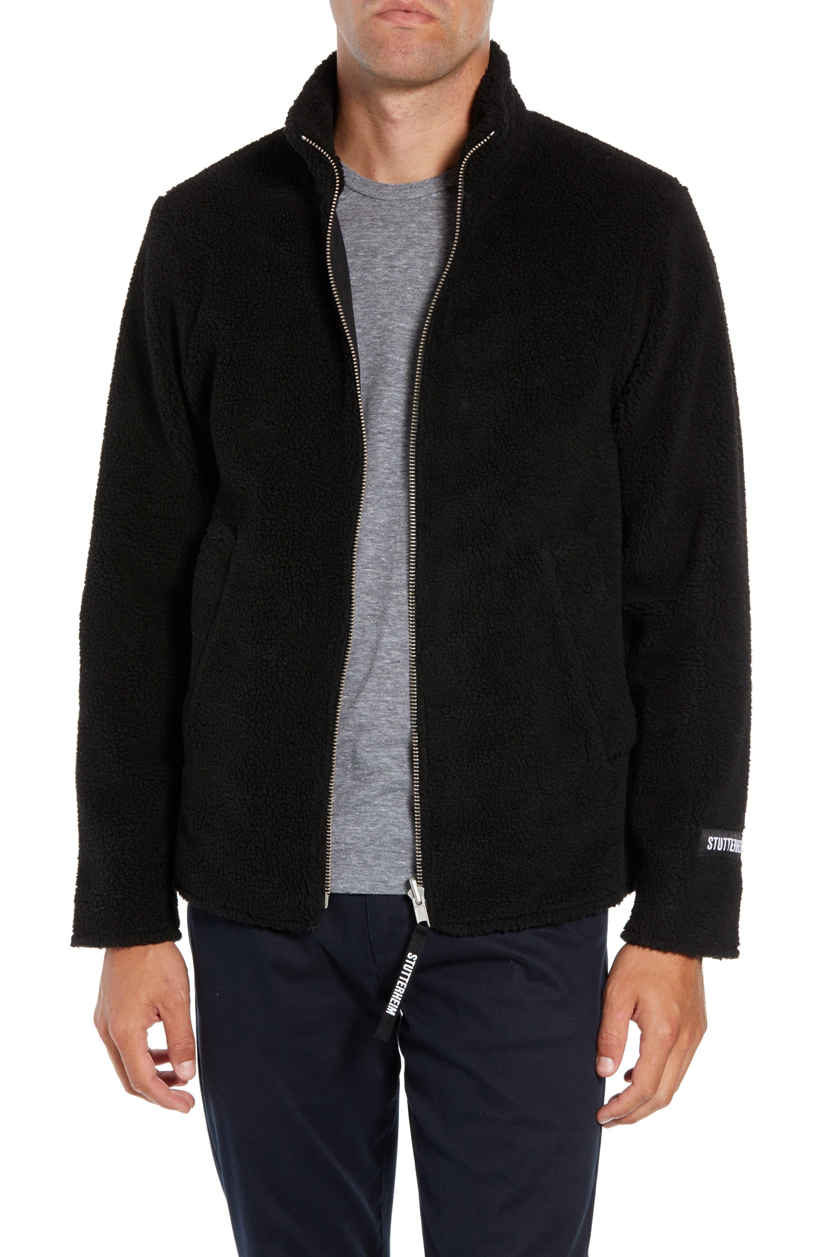 Stutterheim Varby Reversible Fleece Jacket, Black