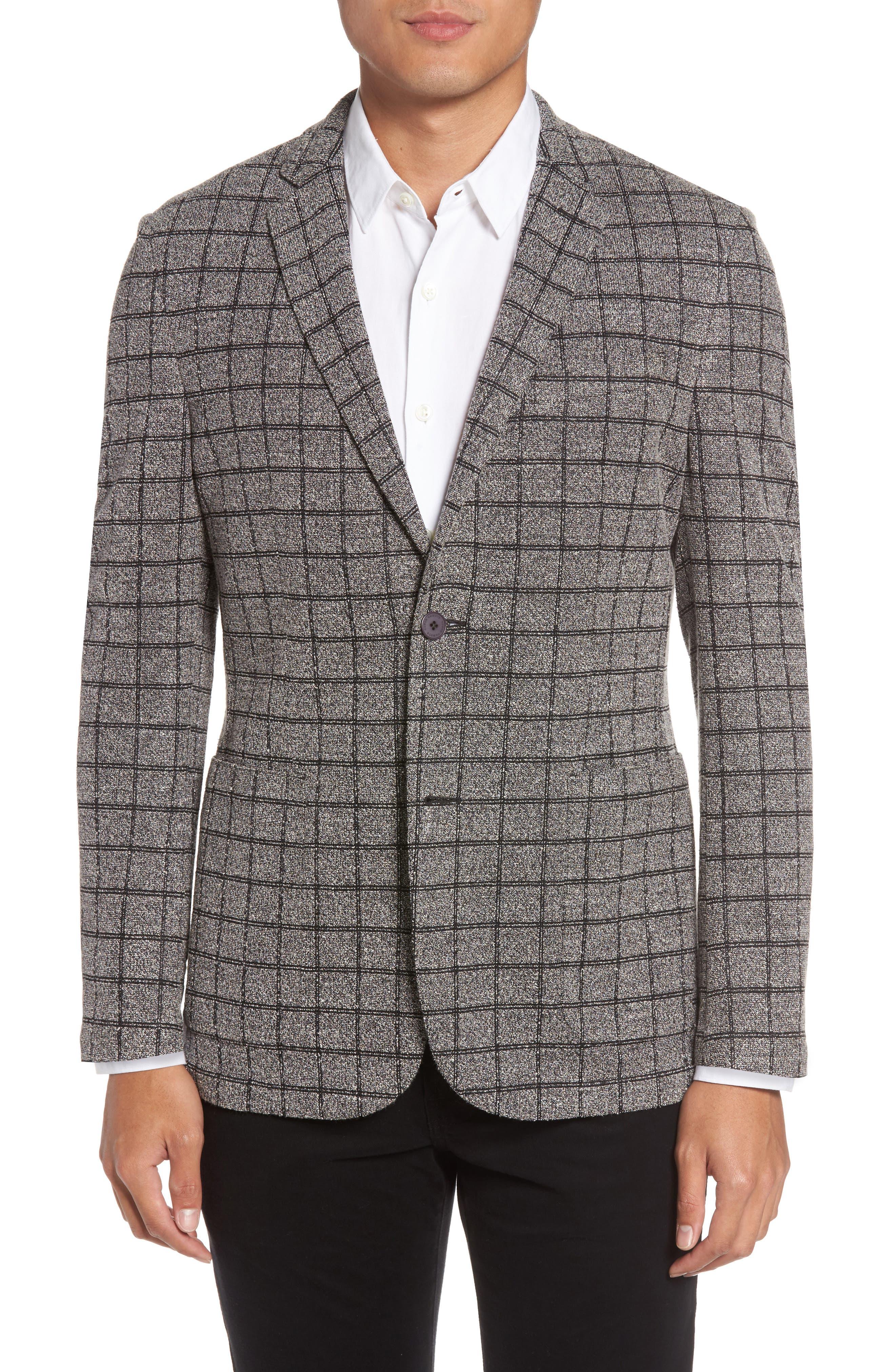Del Aria Slim Fit Check Knit Jacket,                             Main thumbnail 1, color,                             020