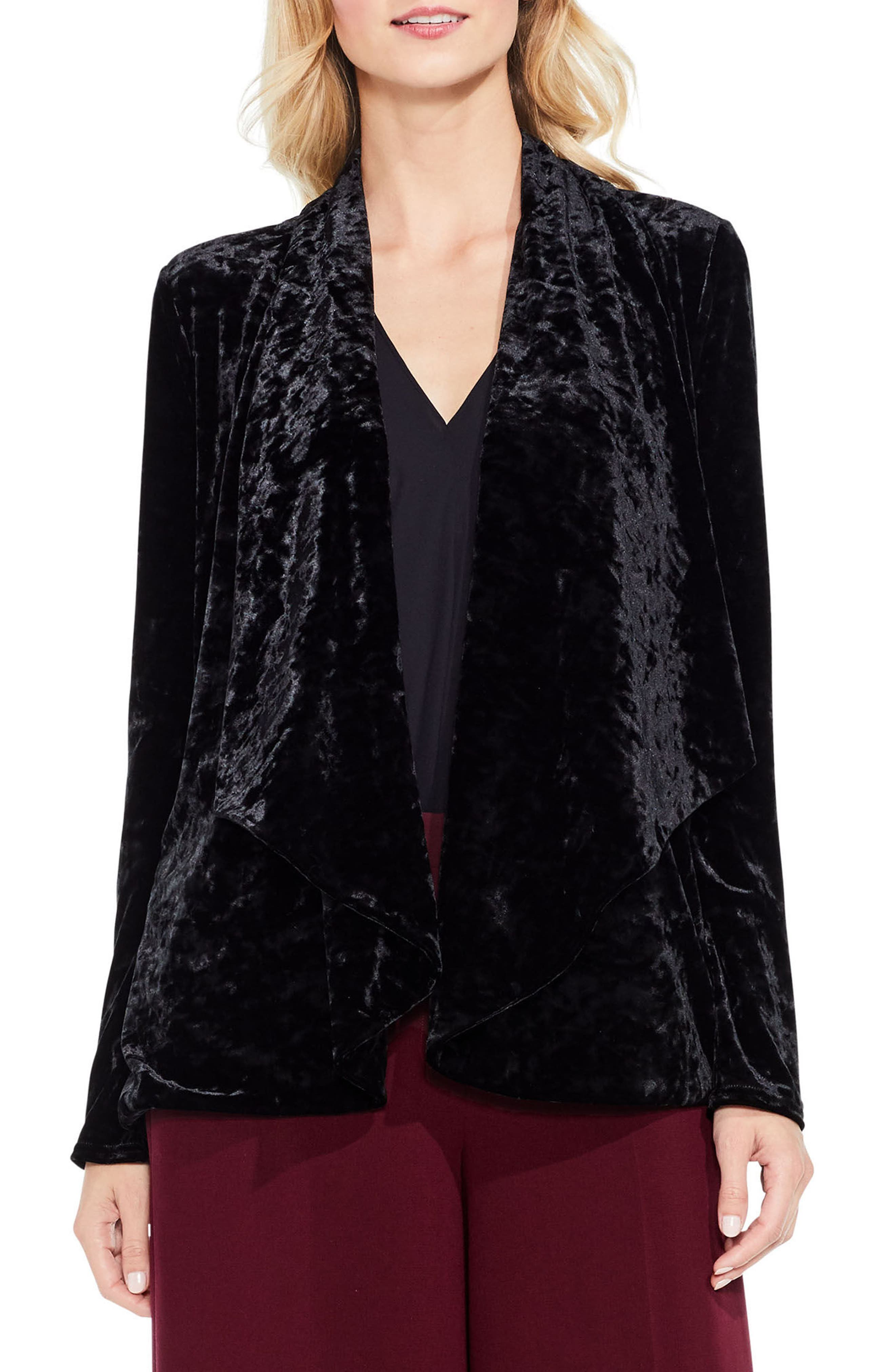 Velvet Drape Collar Jacket,                             Main thumbnail 1, color,