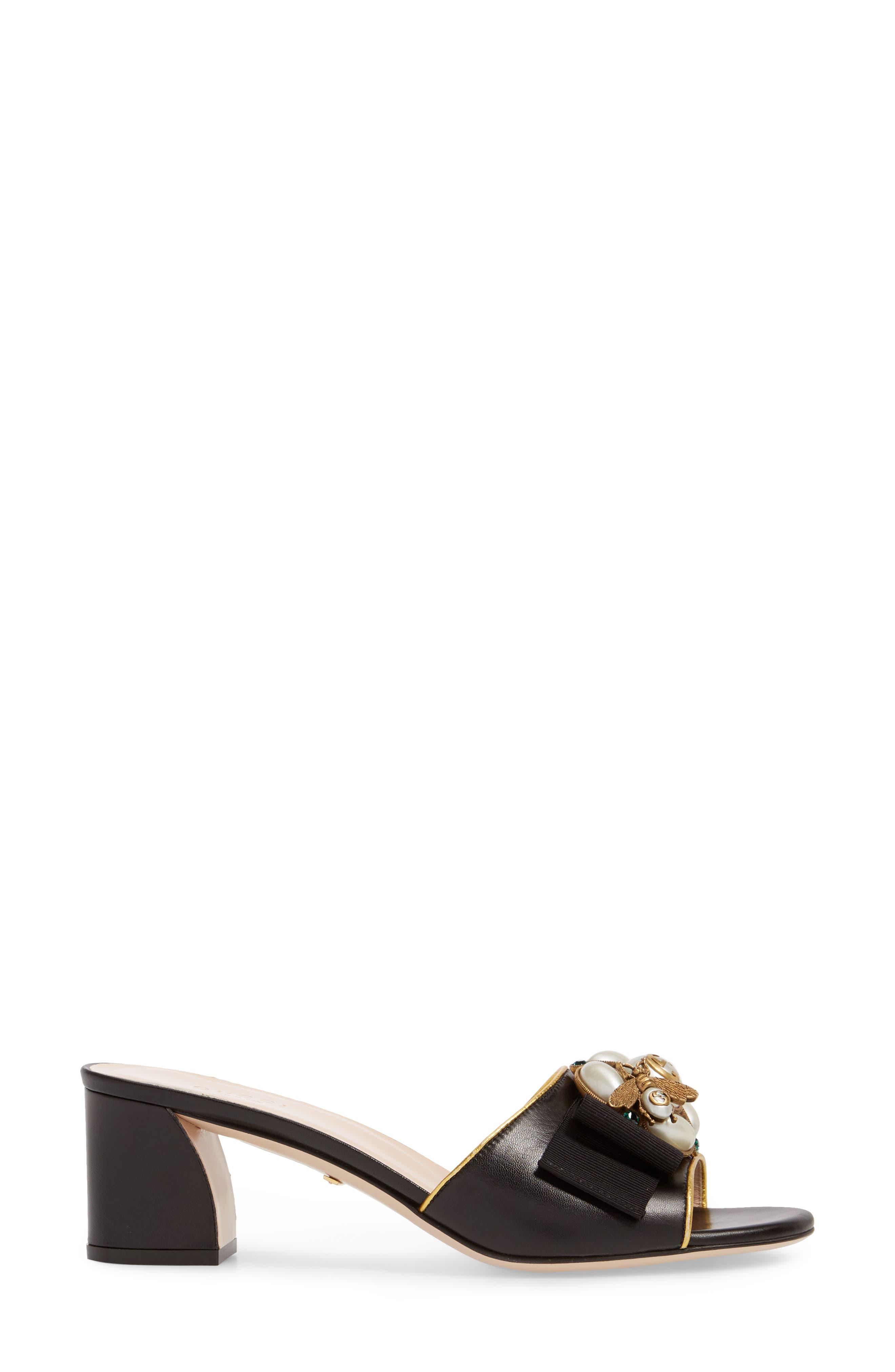 Bee Embellished Slide Sandal,                             Alternate thumbnail 3, color,                             002