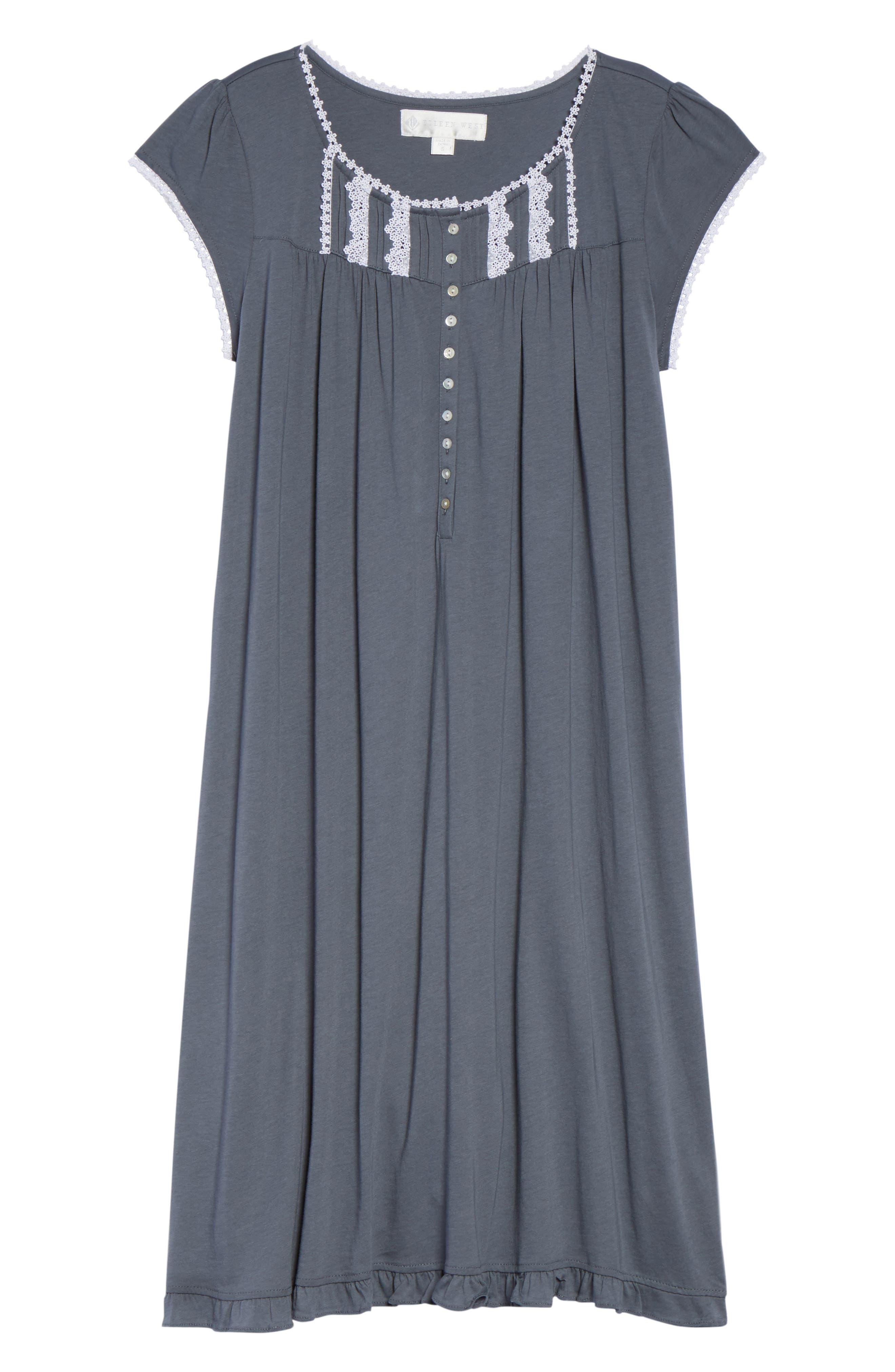 Cotton & Modal Waltz Nightgown,                             Alternate thumbnail 6, color,                             001