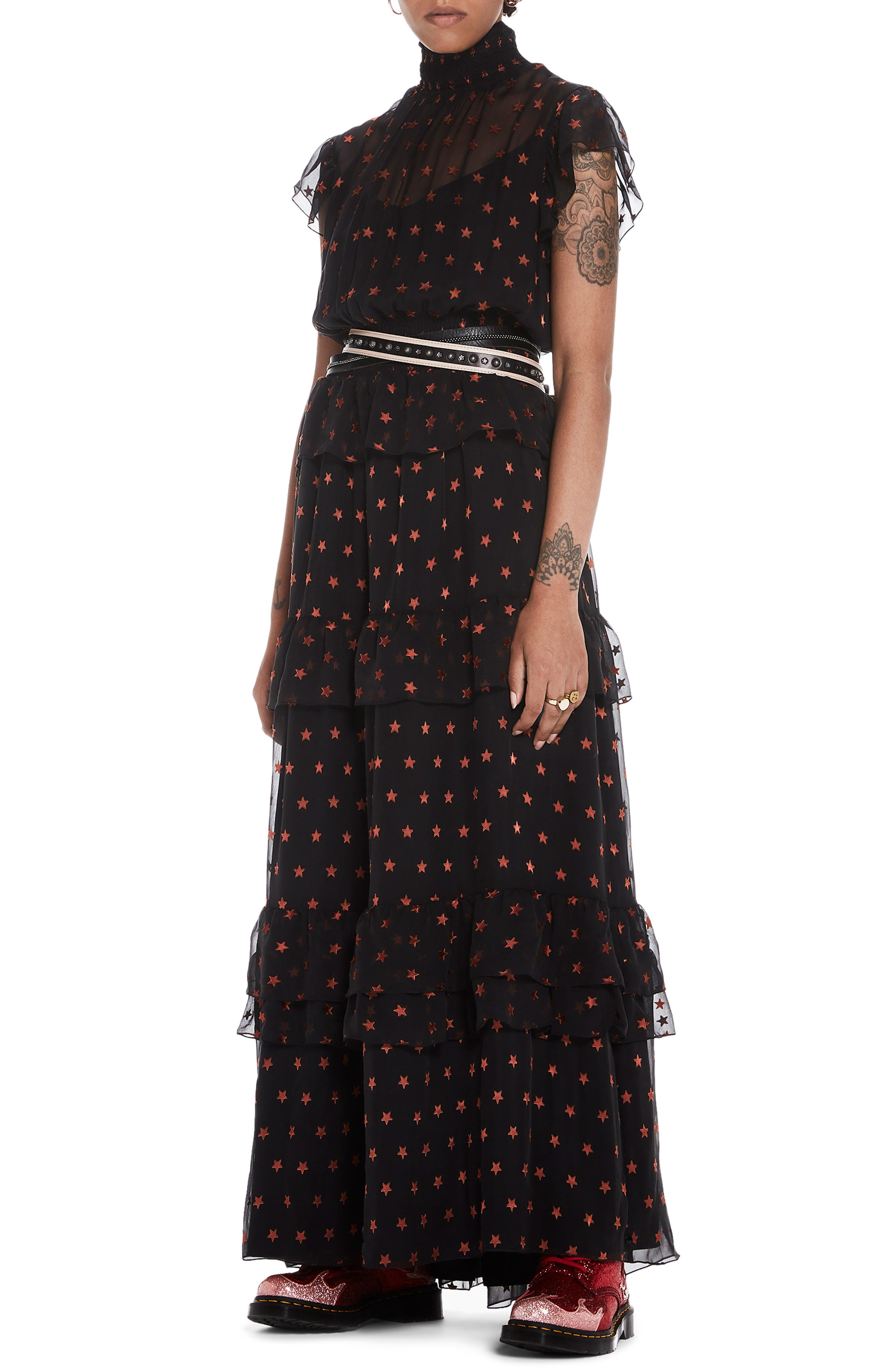 High Neck Silk Blend Maxi Dress,                         Main,                         color, BLACK W/ SMALL STAR PRINT