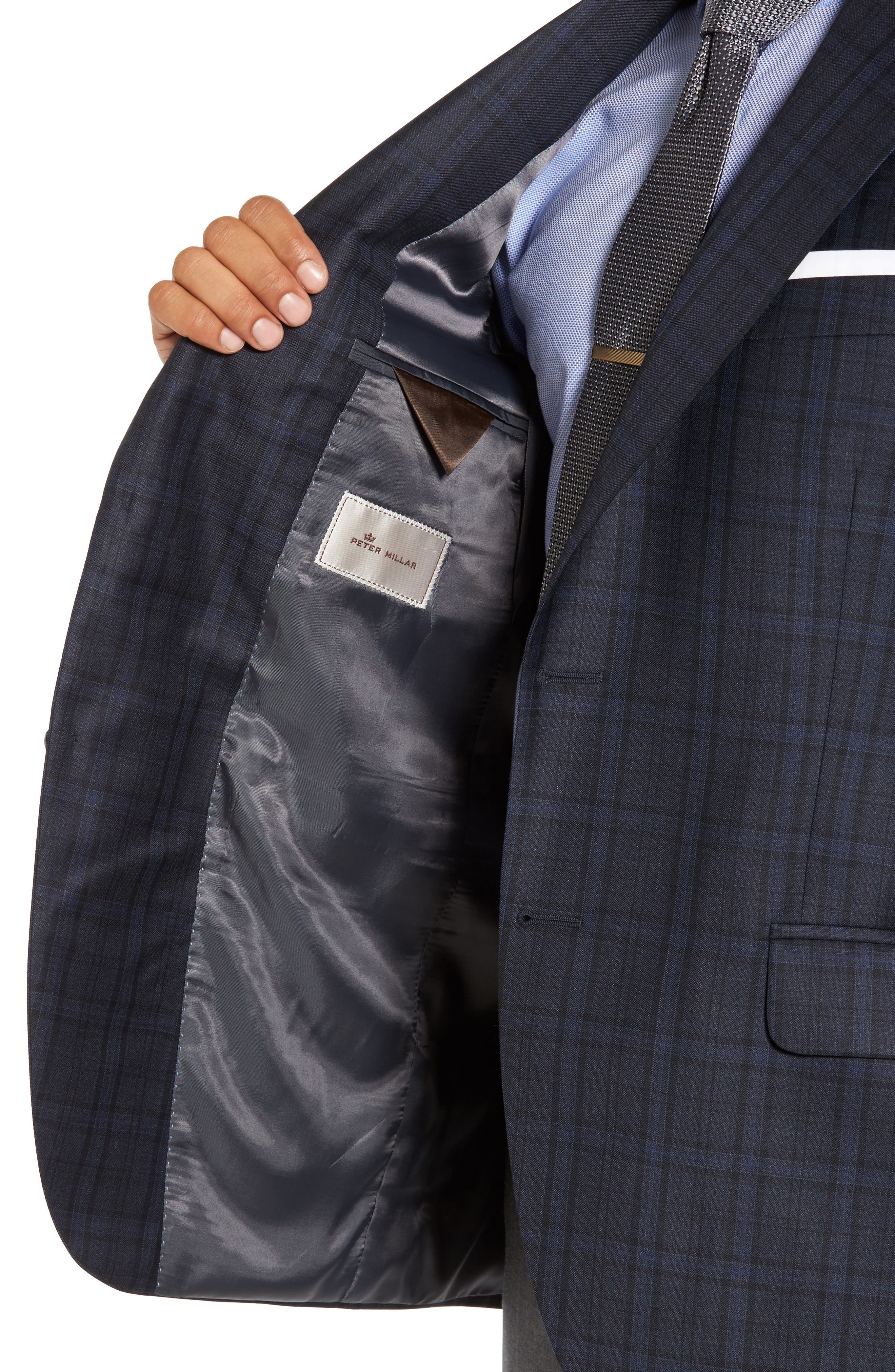 Classic Fit Plaid Wool Sport Coat,                             Alternate thumbnail 4, color,