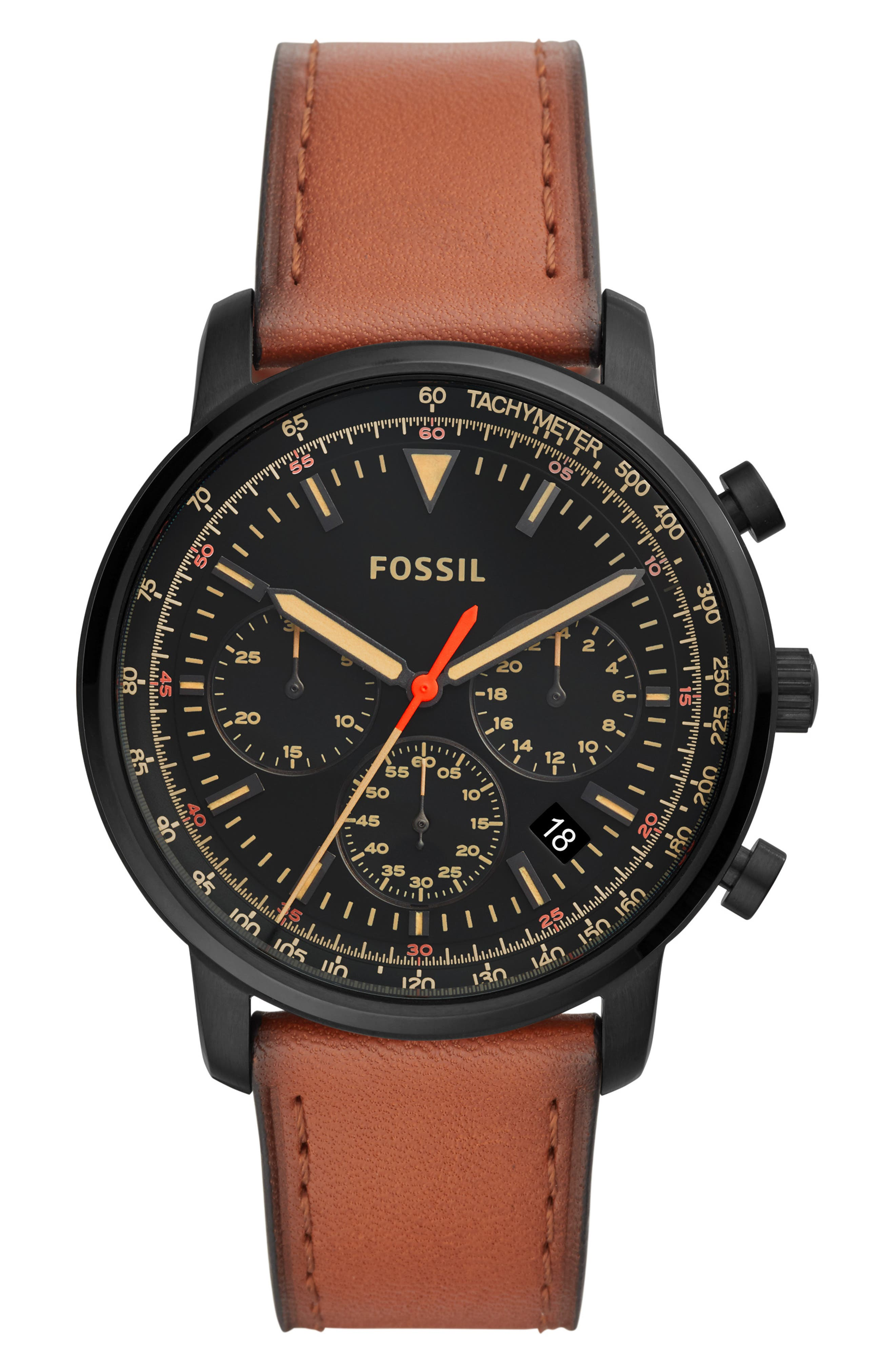 Goodwin Chronograph Leather Strap Watch, 44mm,                             Main thumbnail 1, color,                             200