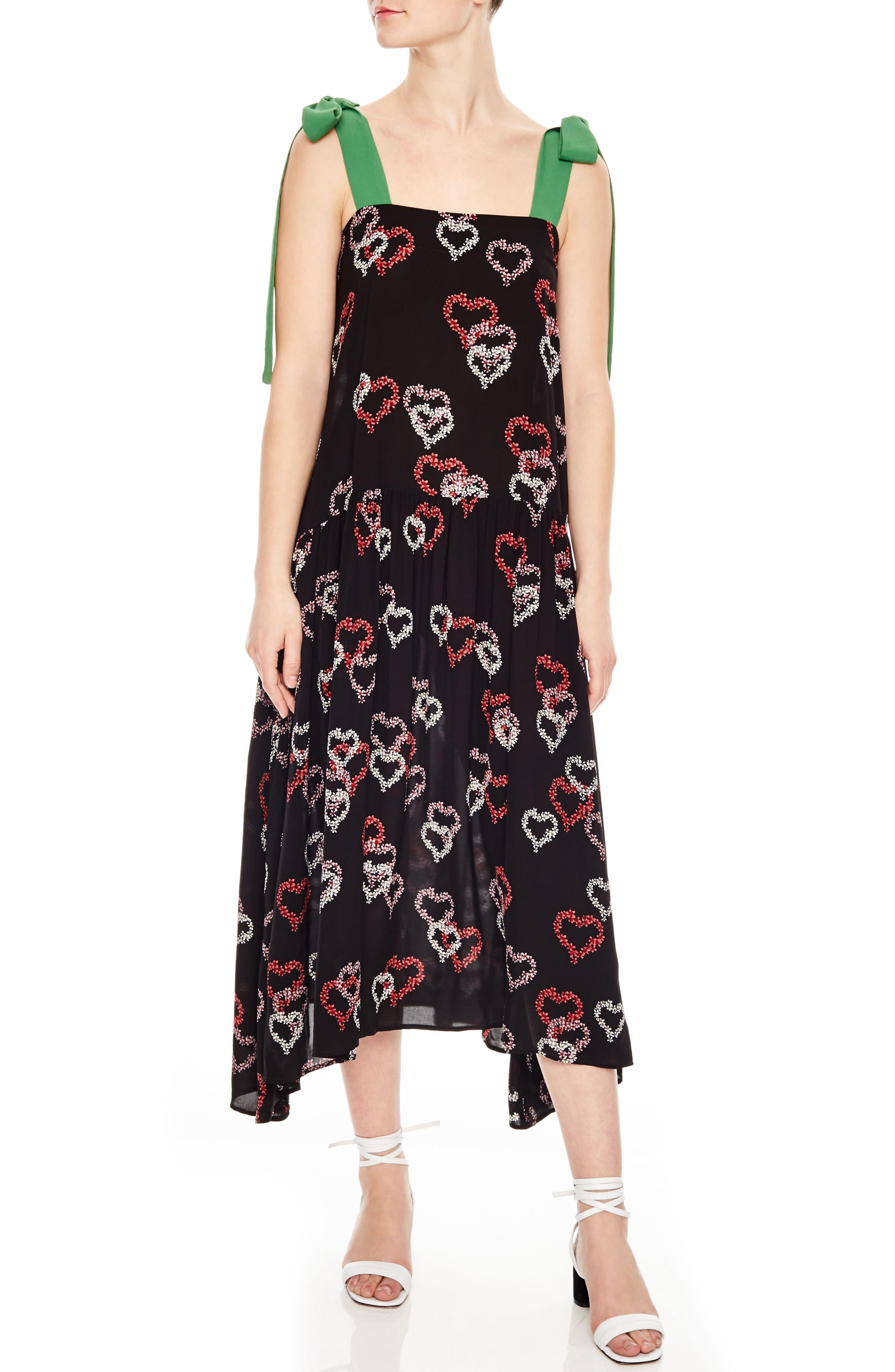 Floral Hearts Tie Strap Midi Dress,                             Main thumbnail 1, color,                             001