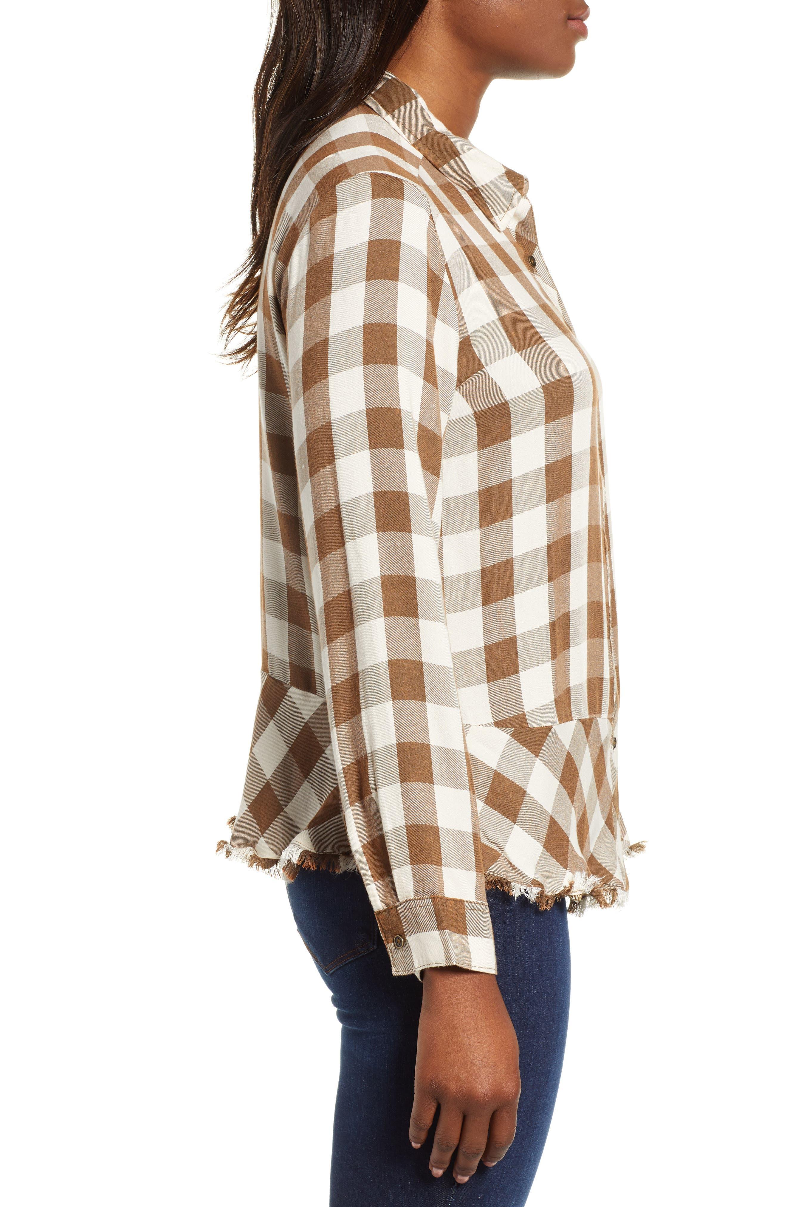 Peplum Plaid Shirt,                             Alternate thumbnail 3, color,                             ASH GREEN