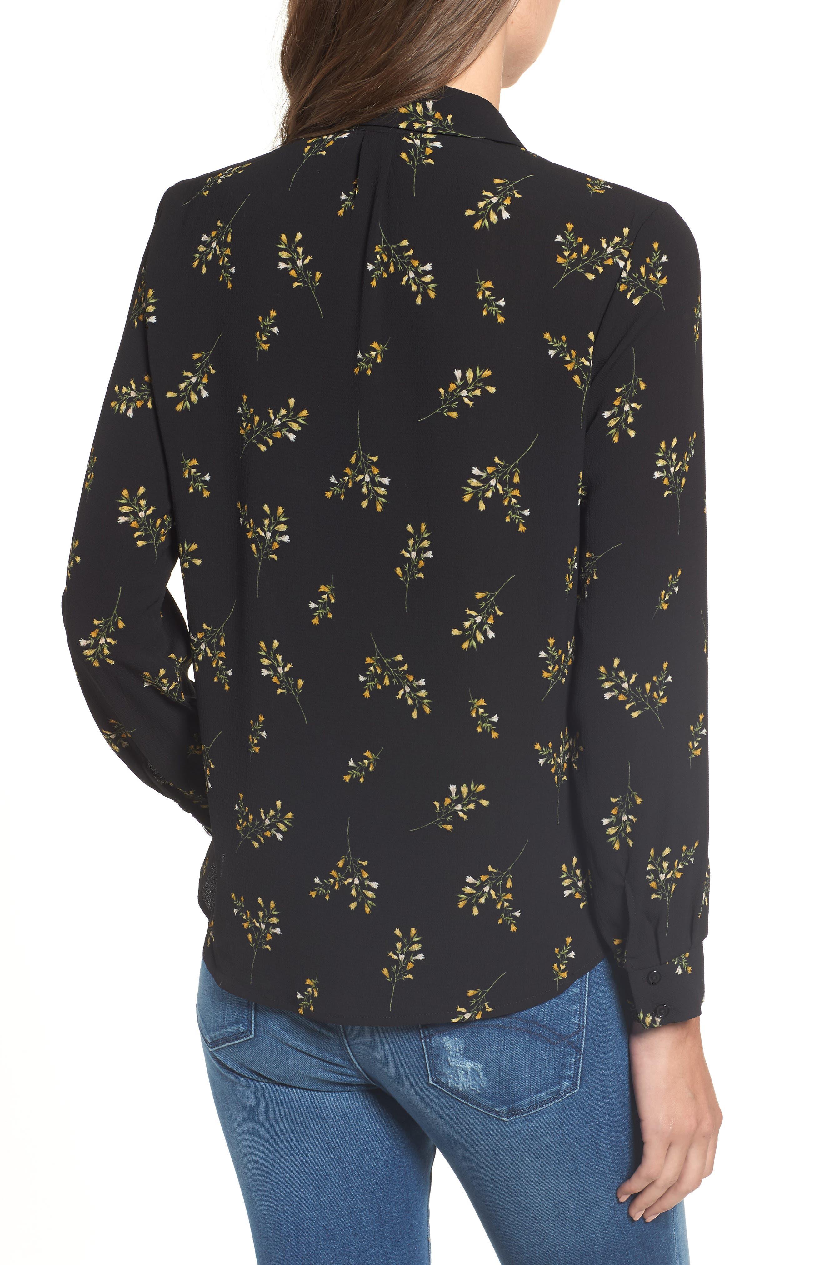 Patterned Drape Front Blouse,                             Alternate thumbnail 2, color,                             BLACK GROUND FLORAL