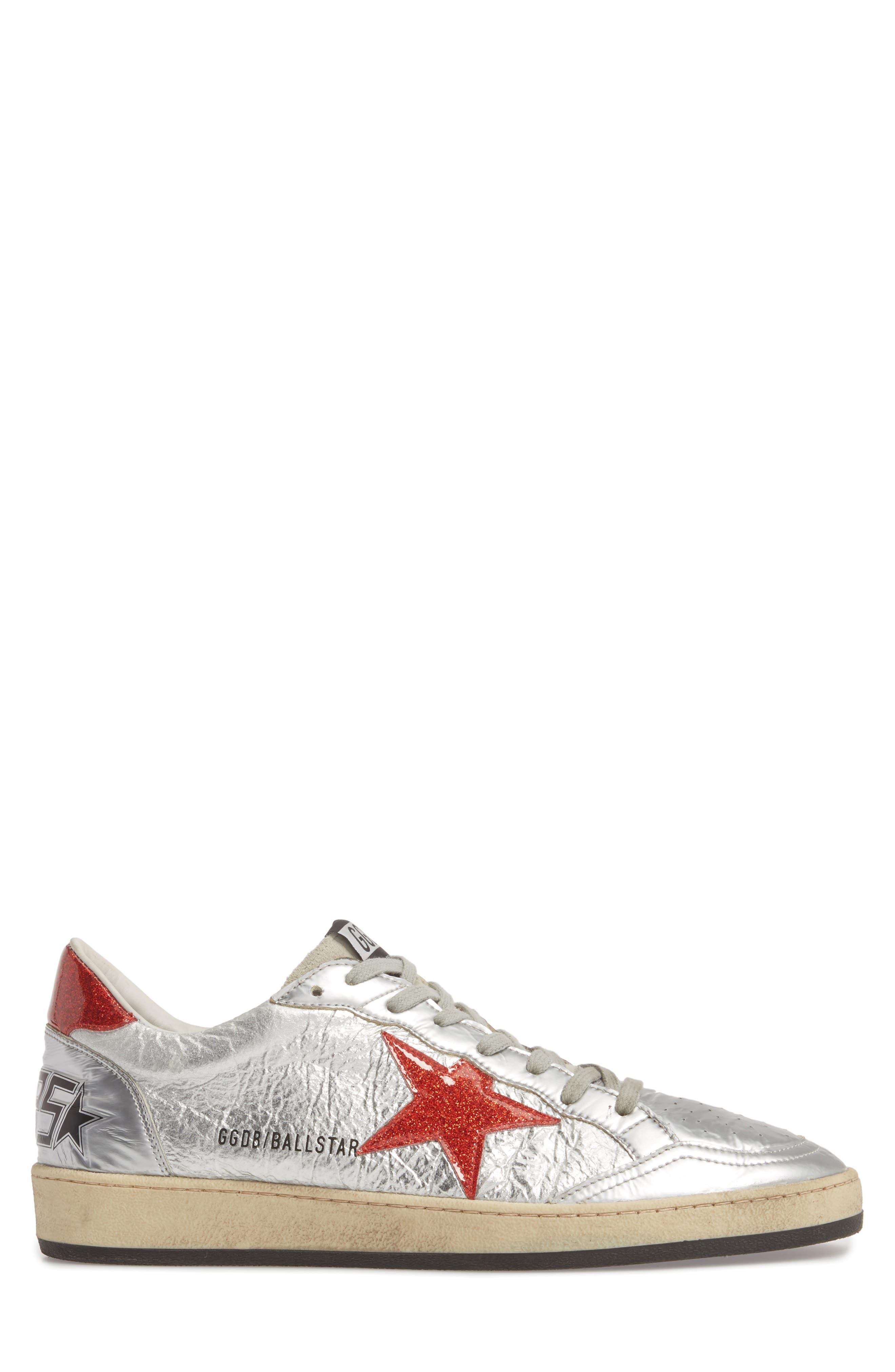 B-Ball Star Sneaker,                             Alternate thumbnail 3, color,                             SILVER-RED GLITTER- STAR DANCE