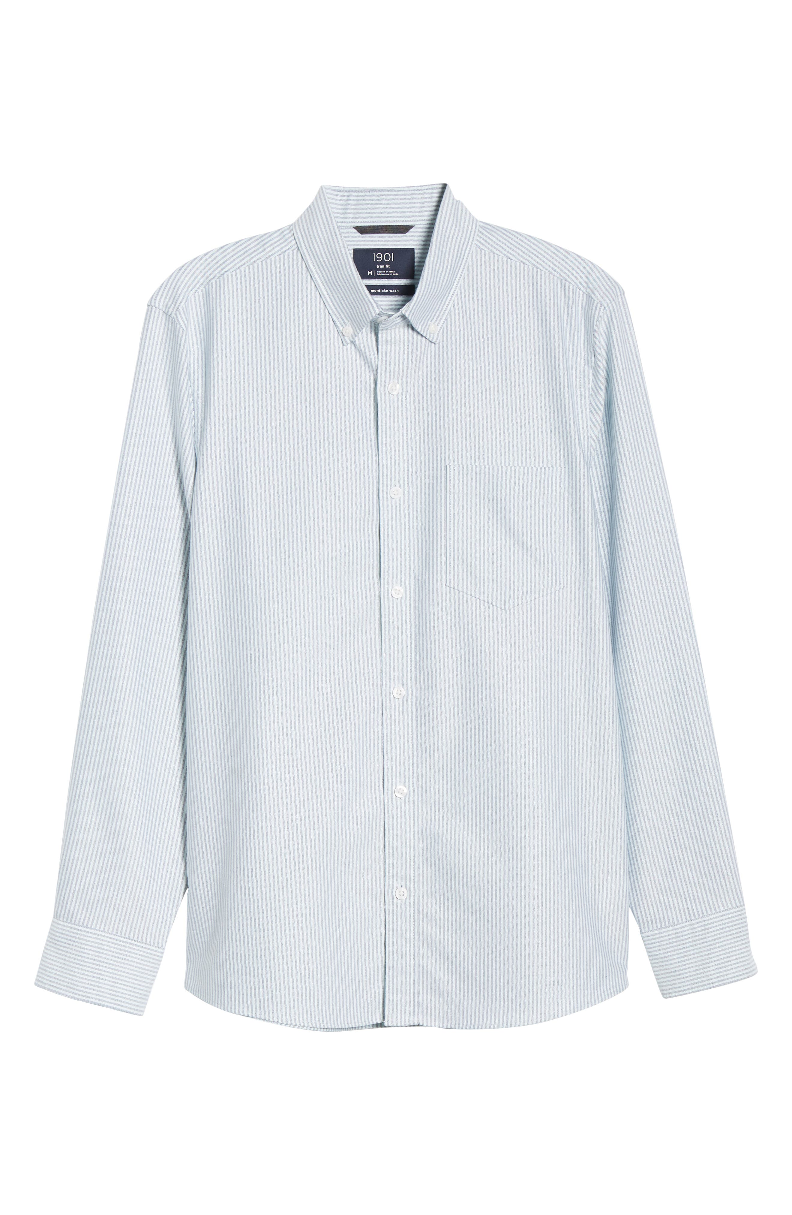 Trim Fit Bengal Stripe Sport Shirt,                             Alternate thumbnail 5, color,                             BLUE ENSIGN MINT STRIPE