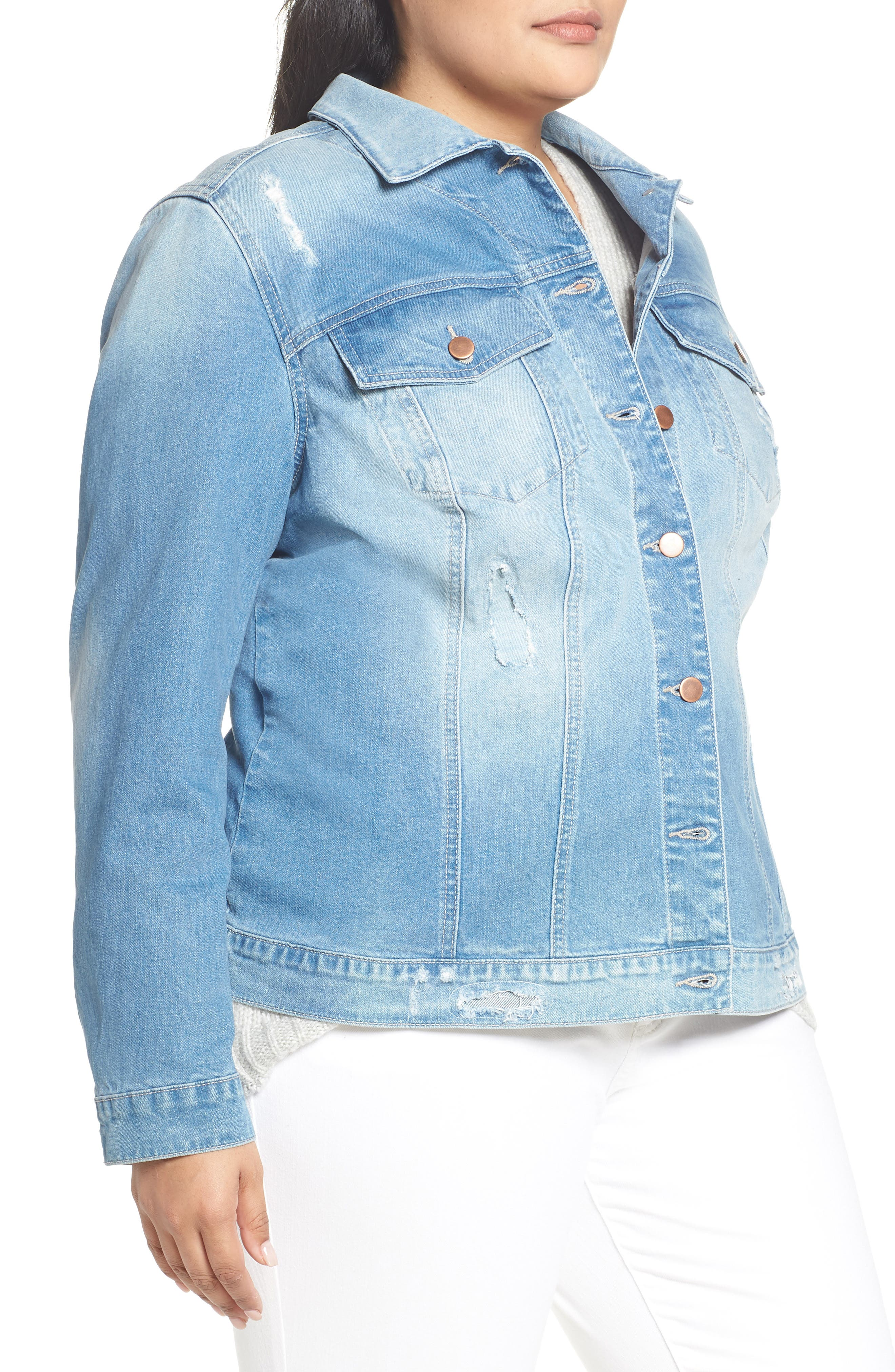 KUT FROM THE KLOTH,                             Lily Basic Denim Jacket,                             Alternate thumbnail 4, color,                             ADORN