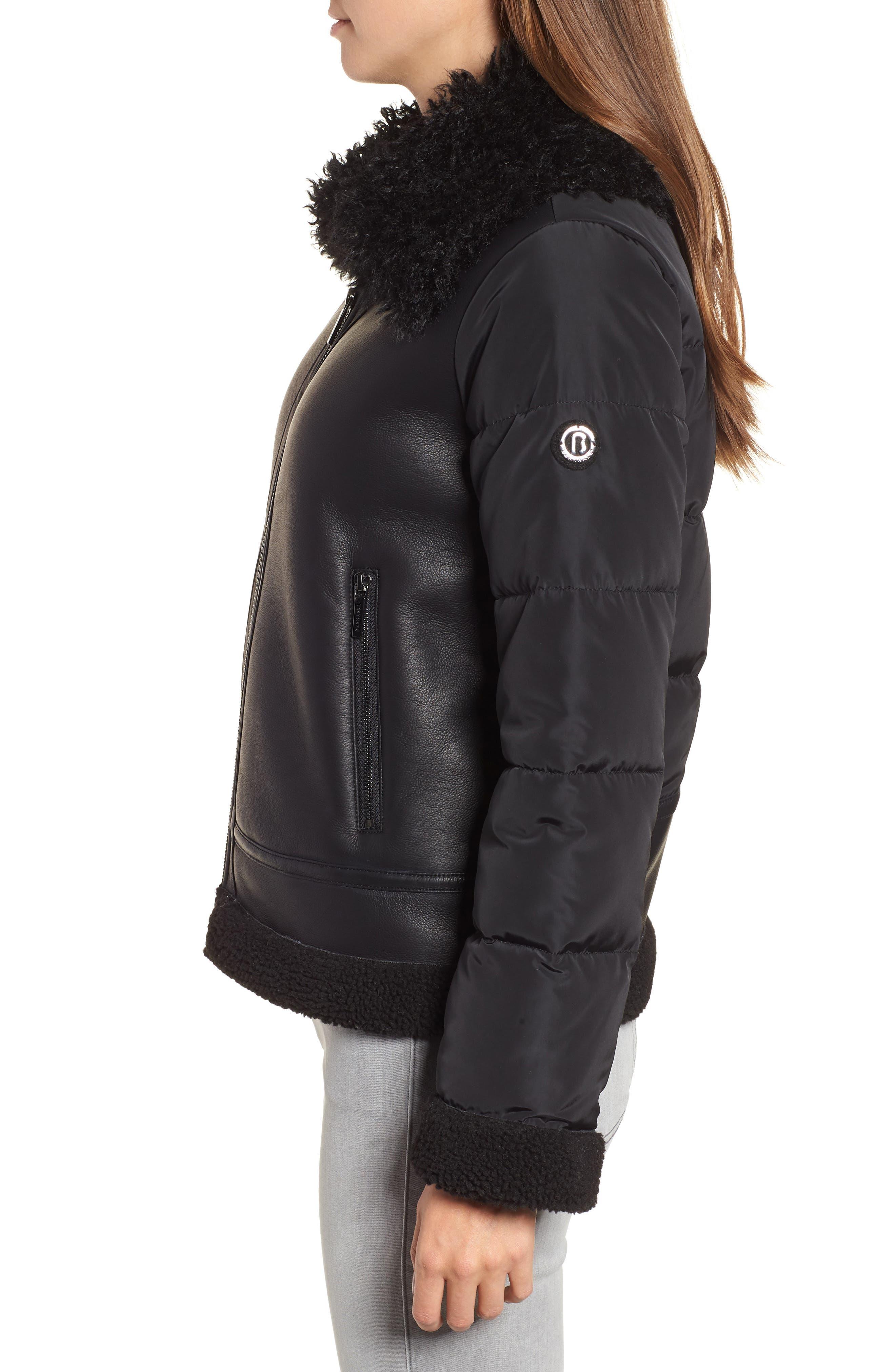 Faux Shearling Hybrid Jacket,                             Alternate thumbnail 3, color,                             BLACK