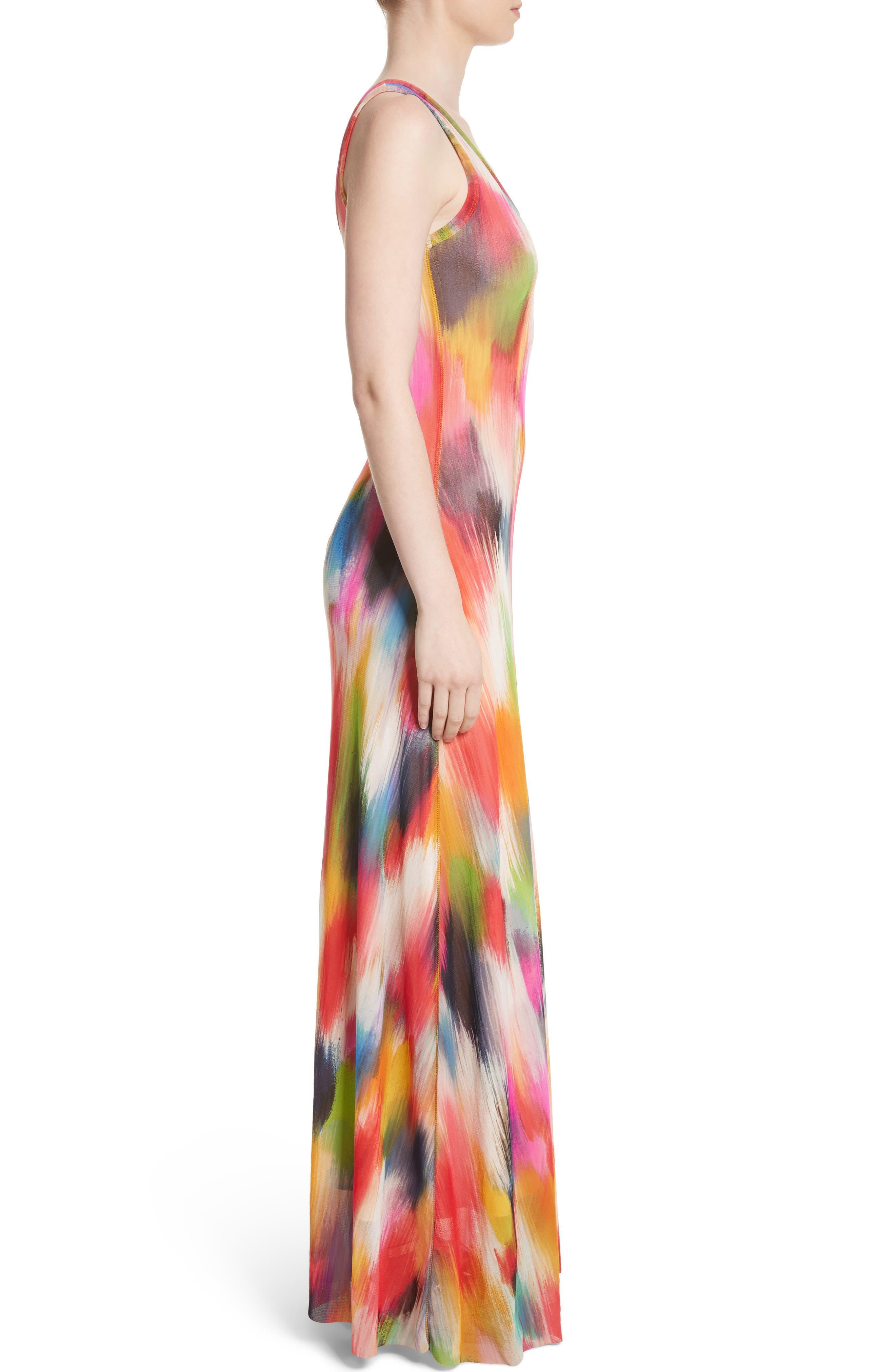 Brushstroke Print Tulle Maxi Dress,                             Alternate thumbnail 3, color,
