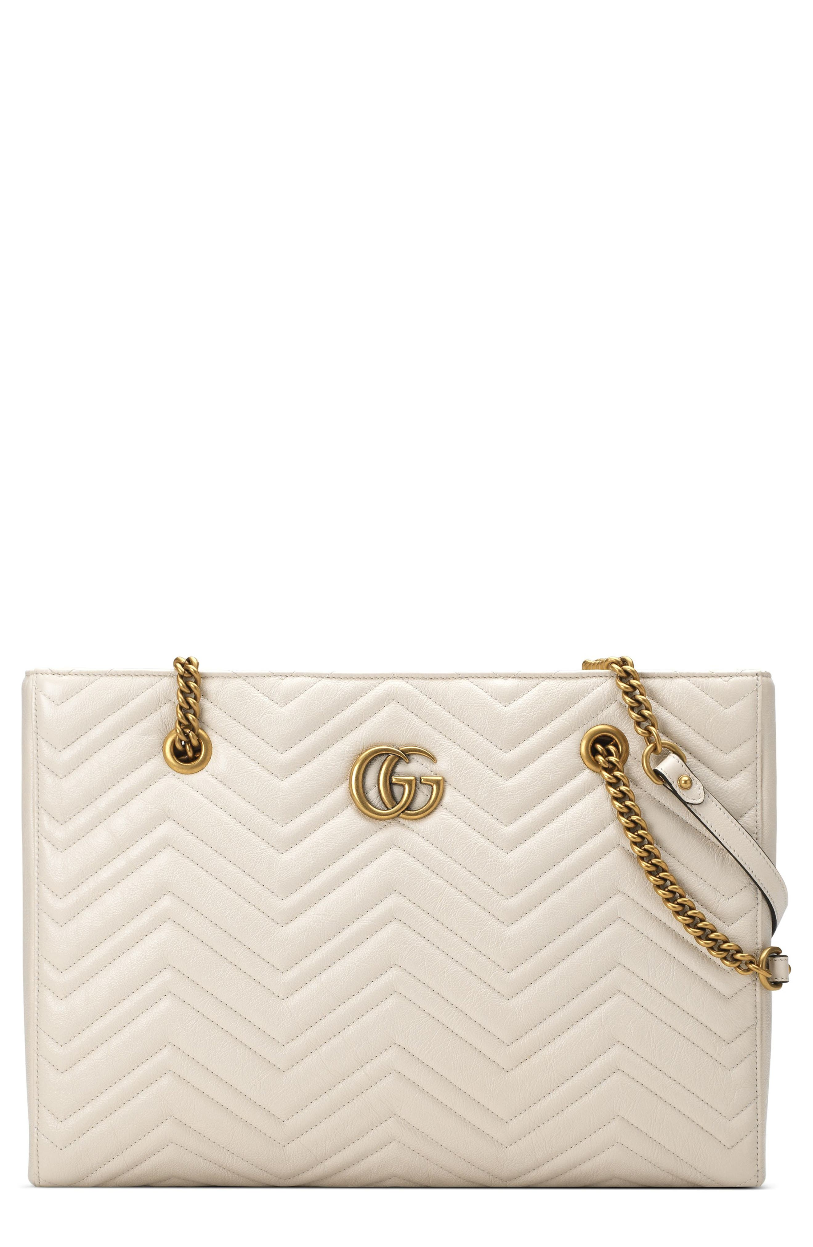 Gg Marmont 2.0 Matelasse Medium Leather East/West Tote Bag - White in Mystic White