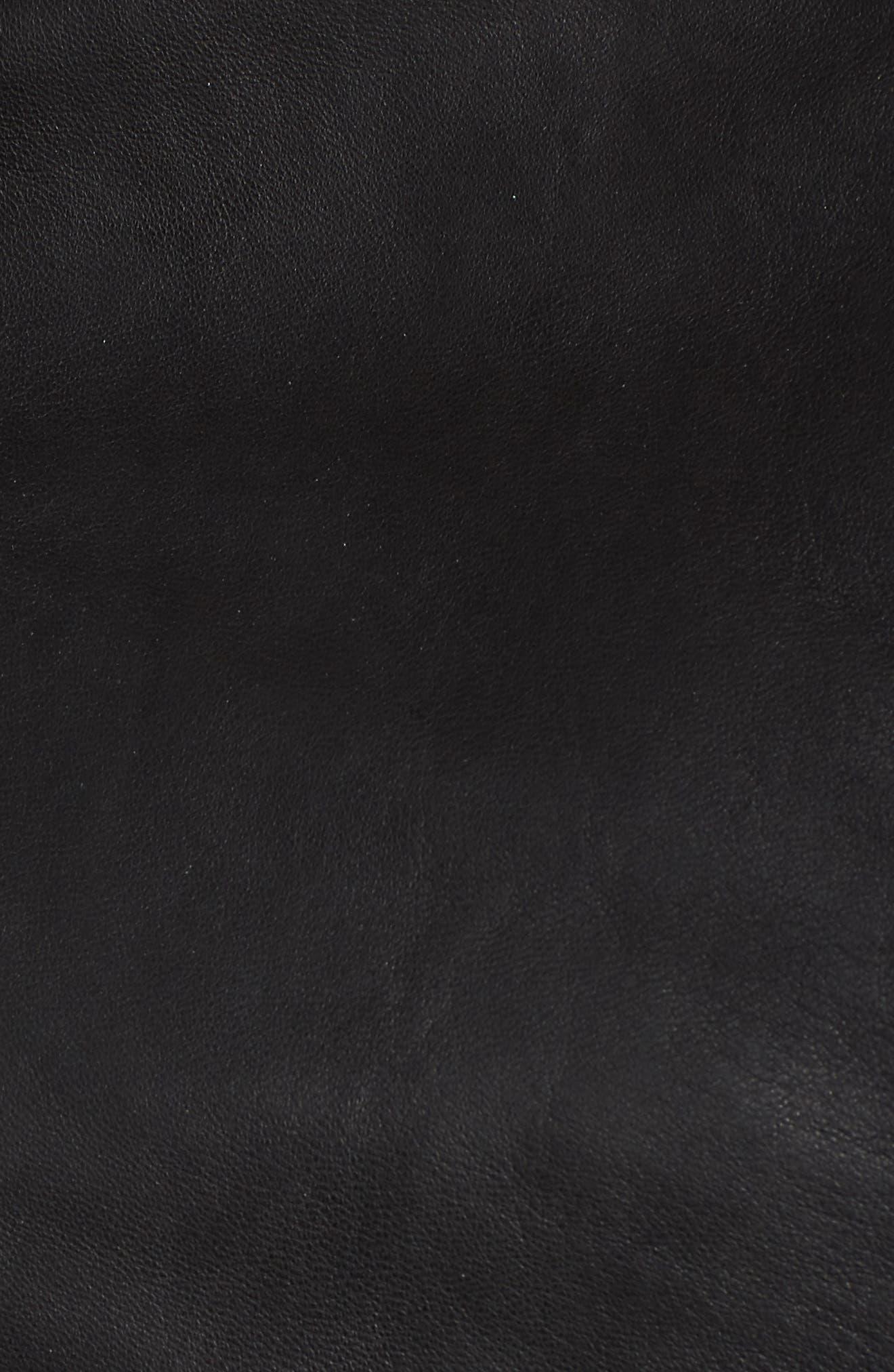 Lizia Leather Biker Jacket,                             Alternate thumbnail 7, color,                             001
