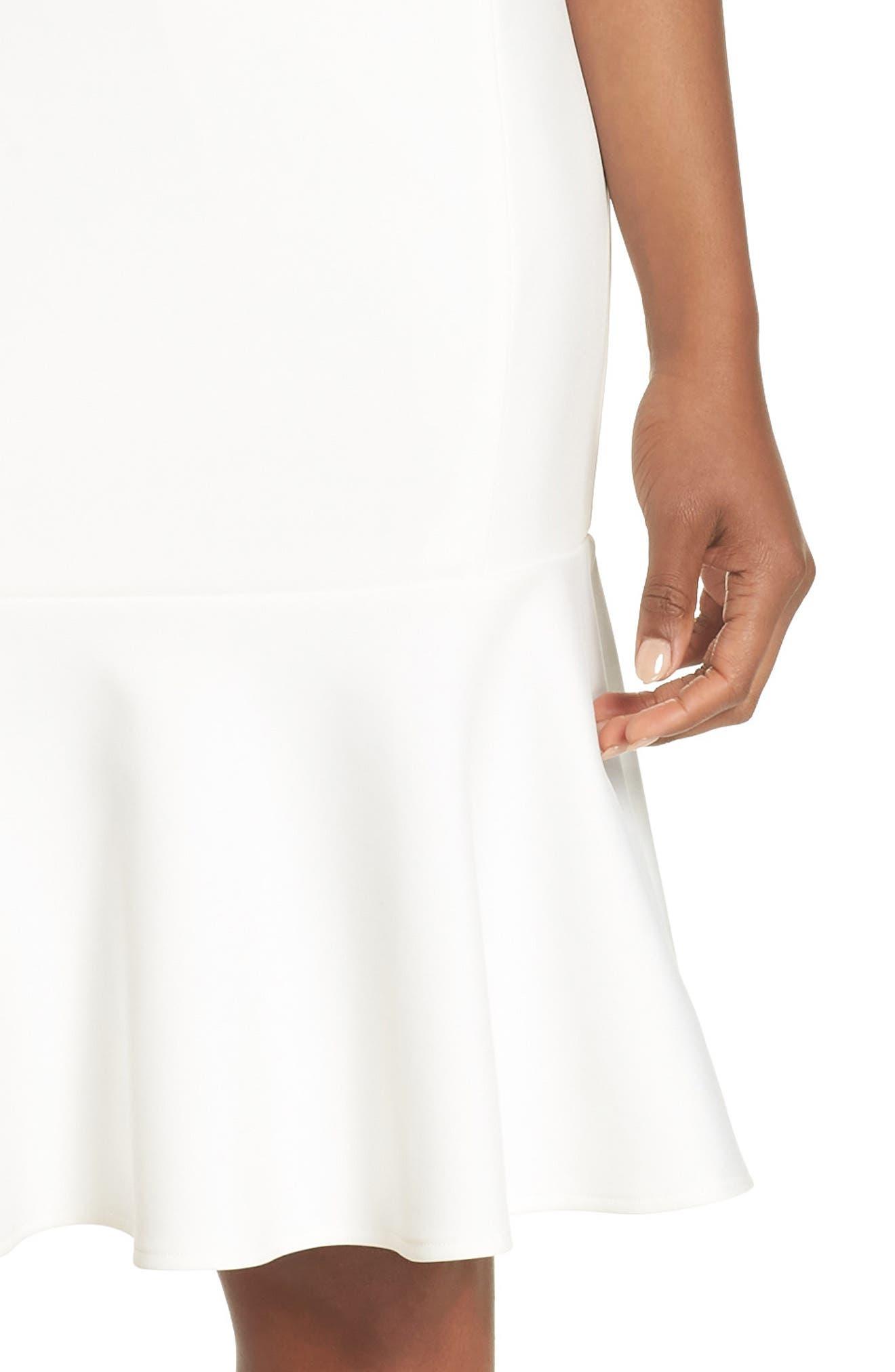 Sleeveless Flounce Hem Dress,                             Alternate thumbnail 4, color,                             OFF WHITE