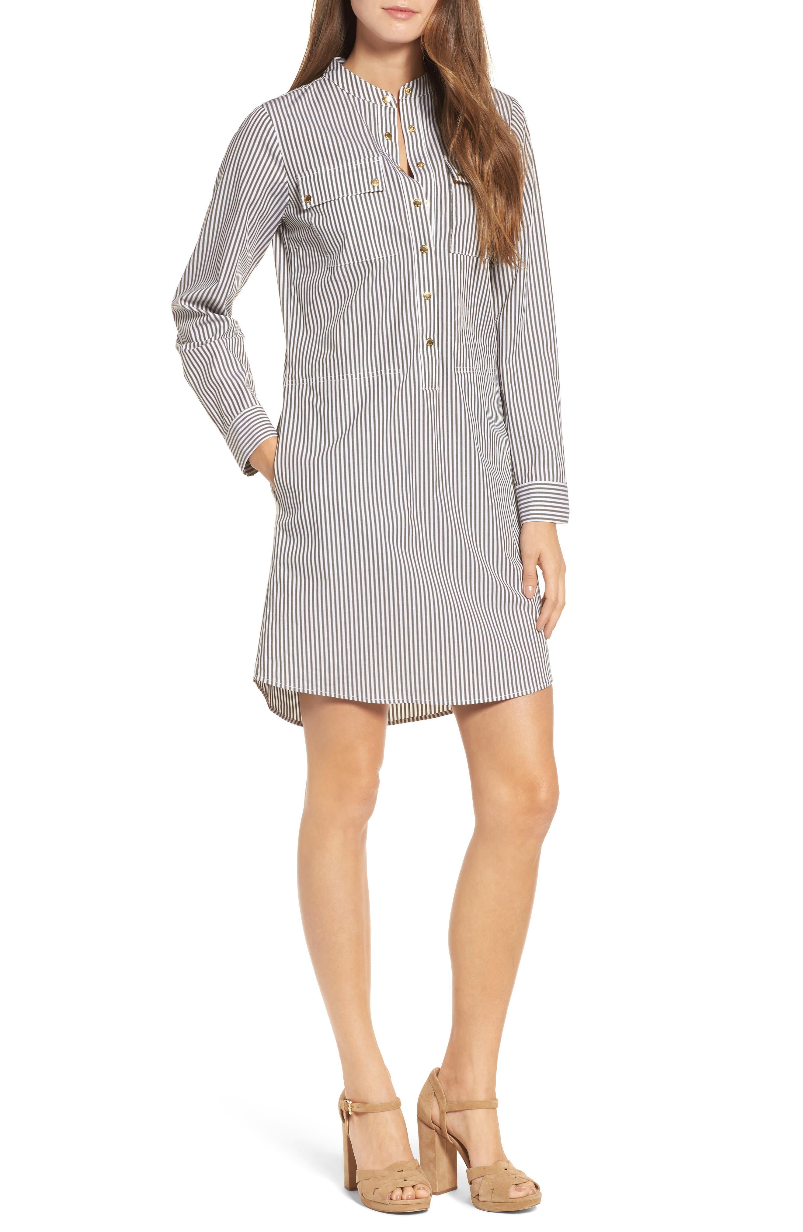 Stripe Button Down Shirtdress,                             Main thumbnail 1, color,                             345