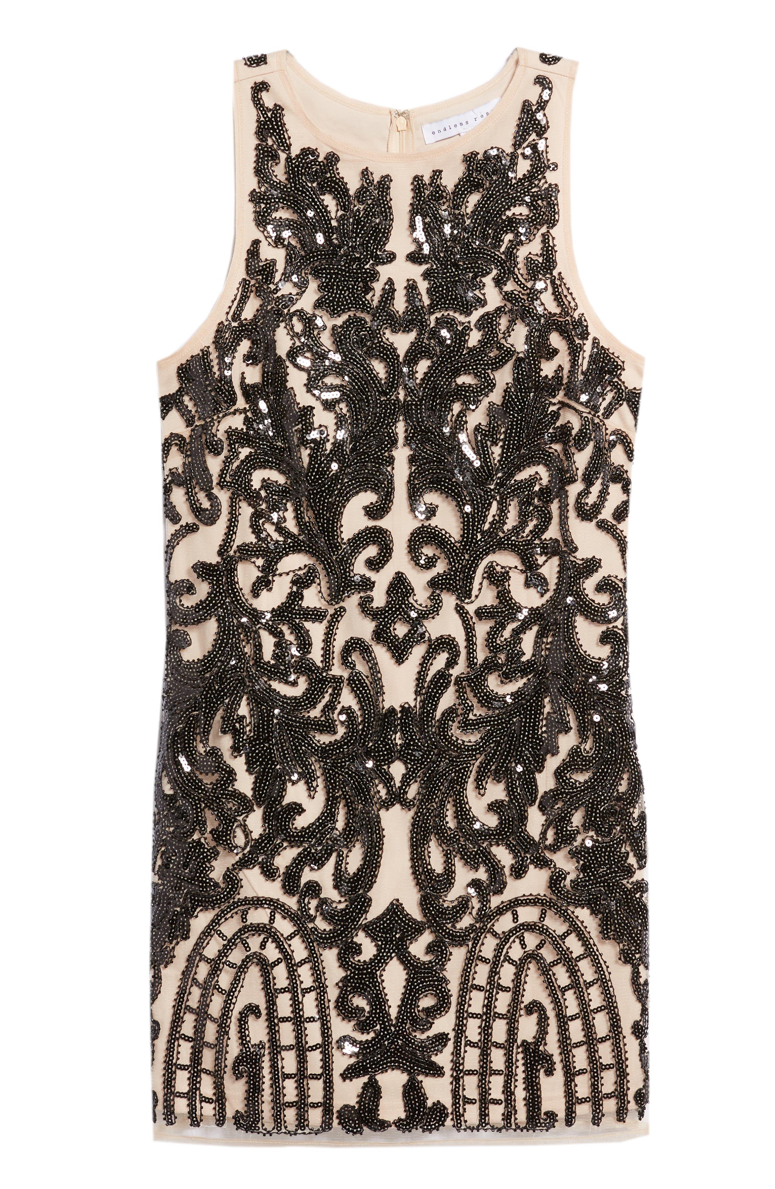 Sequin Embellished Dress,                             Alternate thumbnail 7, color,                             BLACK