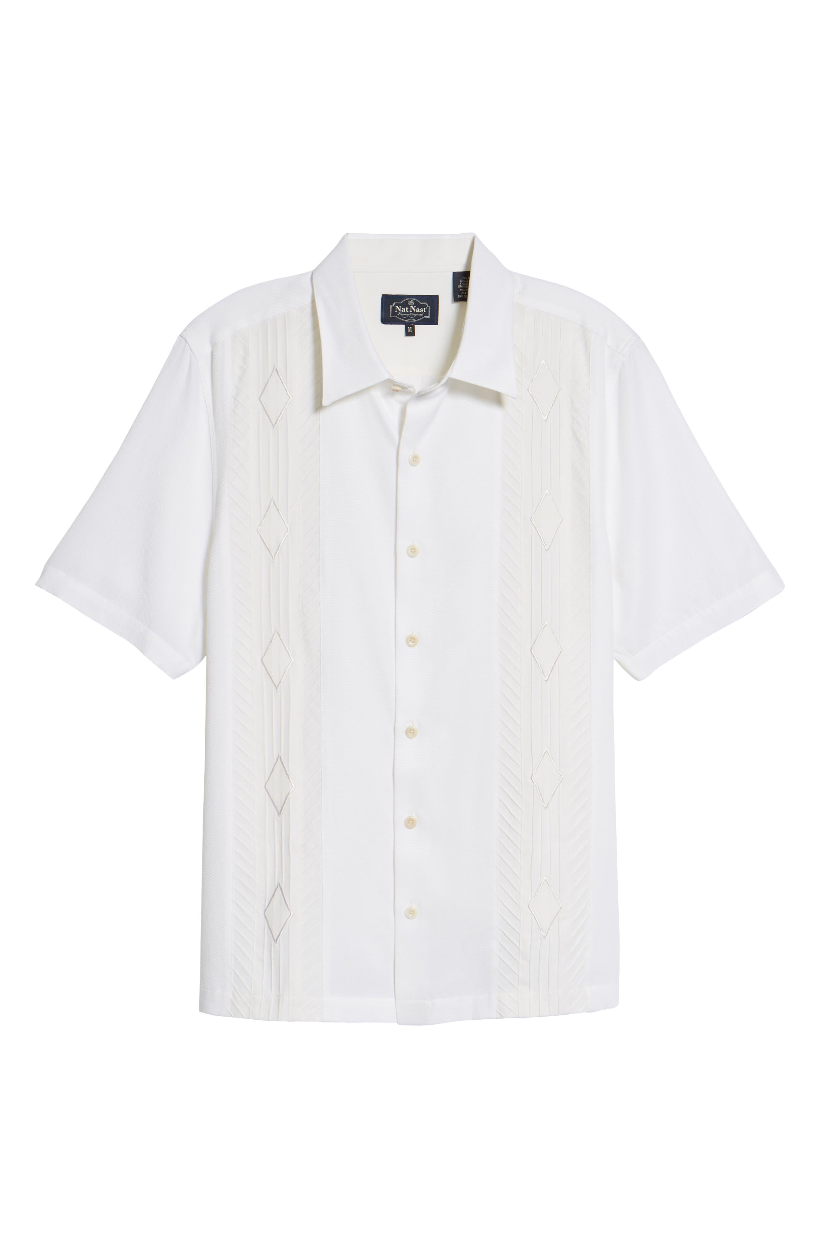 Gondola Embroidered Jacquard Silk Blend Sport Shirt,                             Alternate thumbnail 6, color,