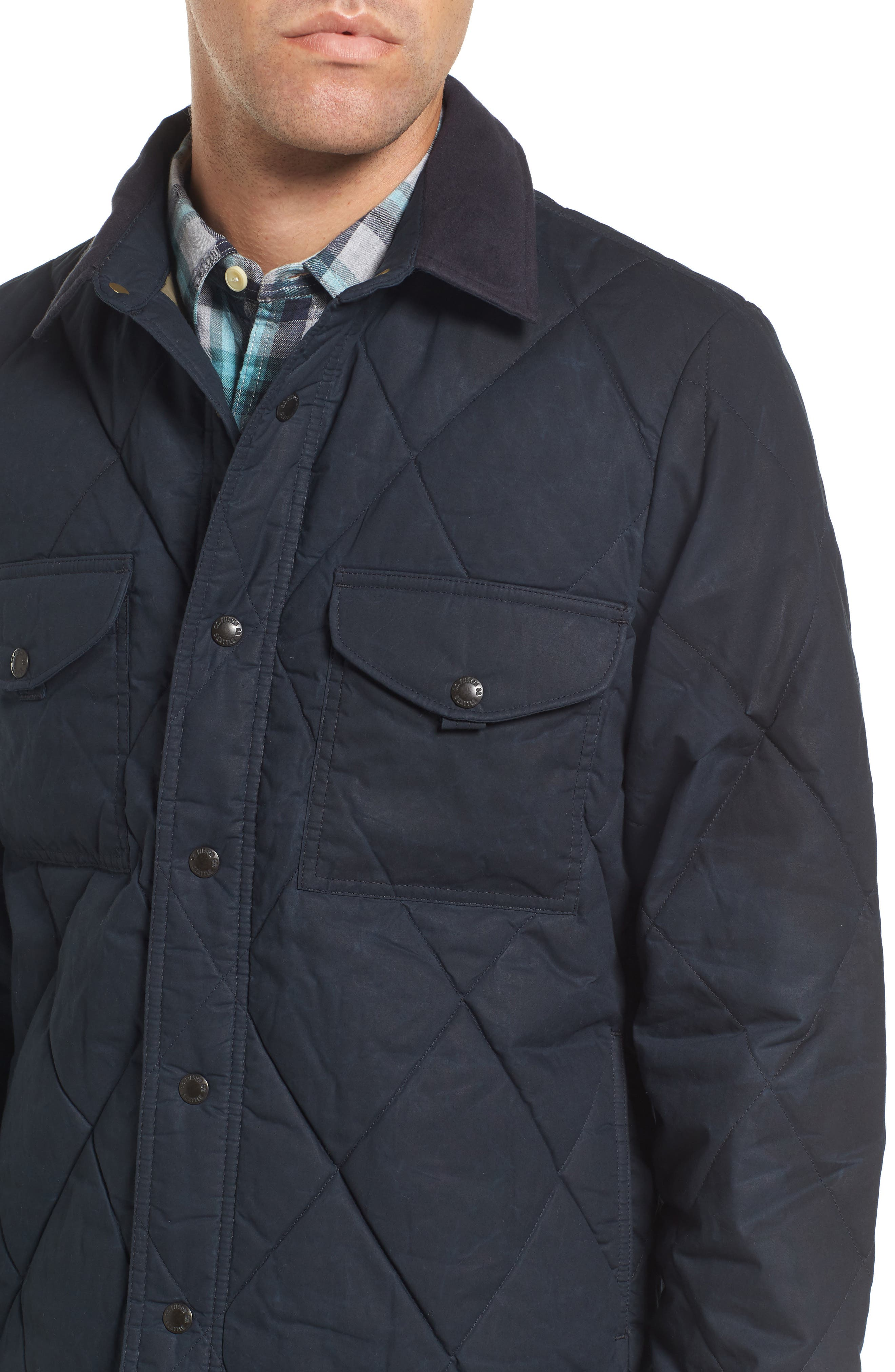 Hyder Quilted Water-Repellent Shirt Jacket,                             Alternate thumbnail 4, color,                             FADED NAVY