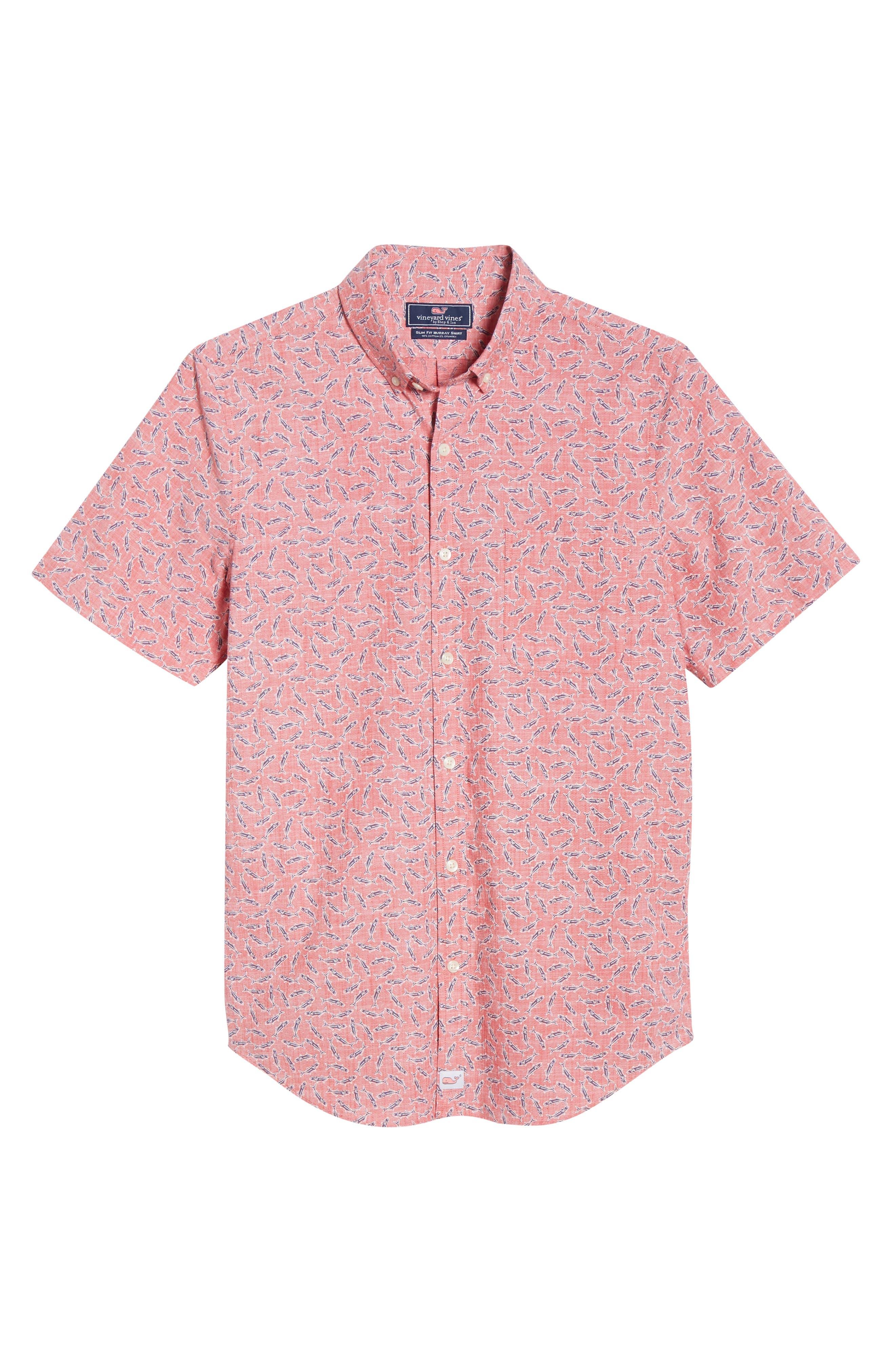 VINEYARD VINES,                             Murray Slim Fit Sport Shirt,                             Alternate thumbnail 5, color,                             LOBSTER REEF