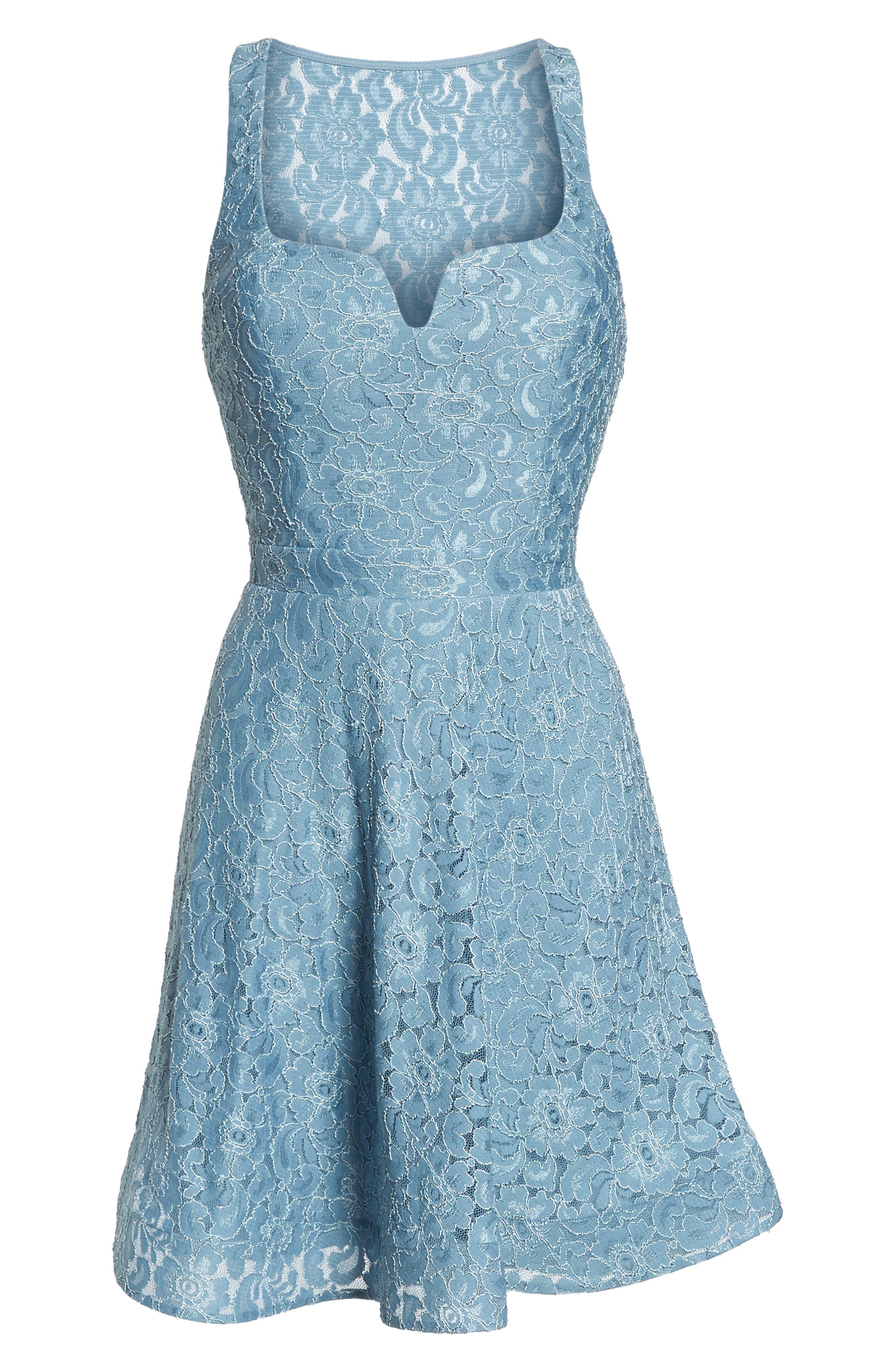 Notch Front Lace Fit & Flare Dress,                             Alternate thumbnail 6, color,                             BLUE