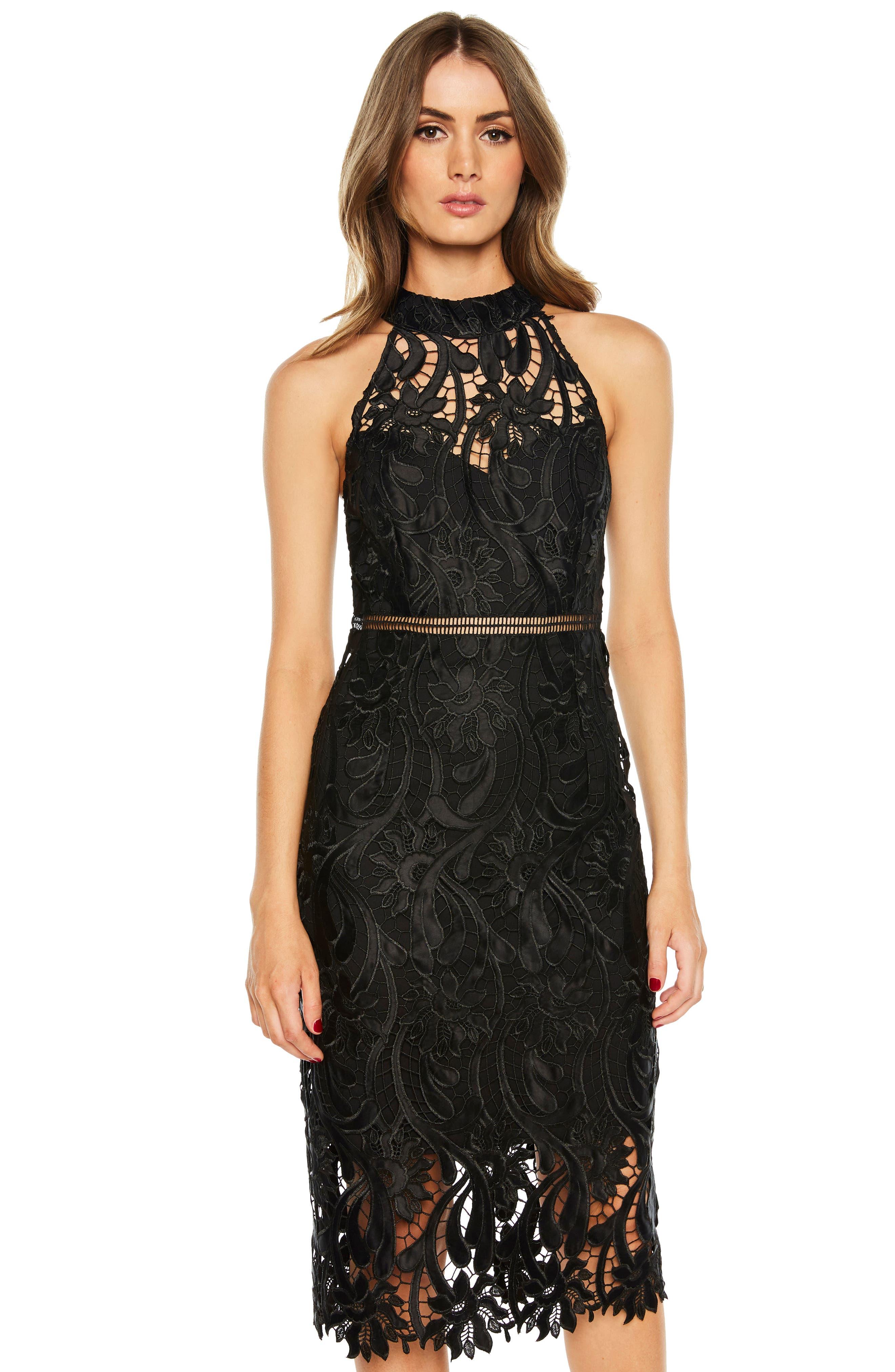 Isa Lace Halter Dress,                             Alternate thumbnail 6, color,                             BLACK