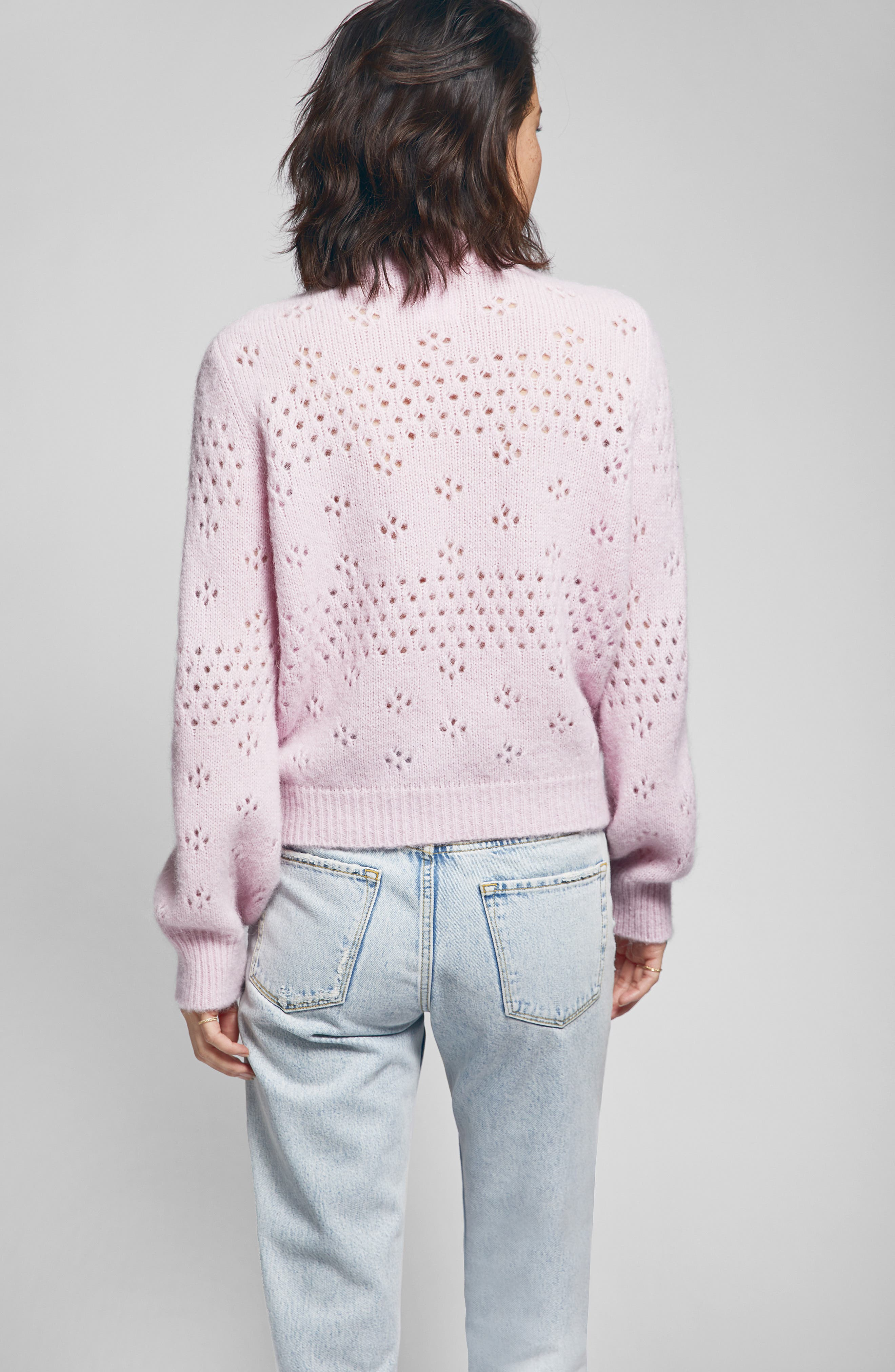 Candice Pointelle Sweater,                             Alternate thumbnail 4, color,                             ROSE