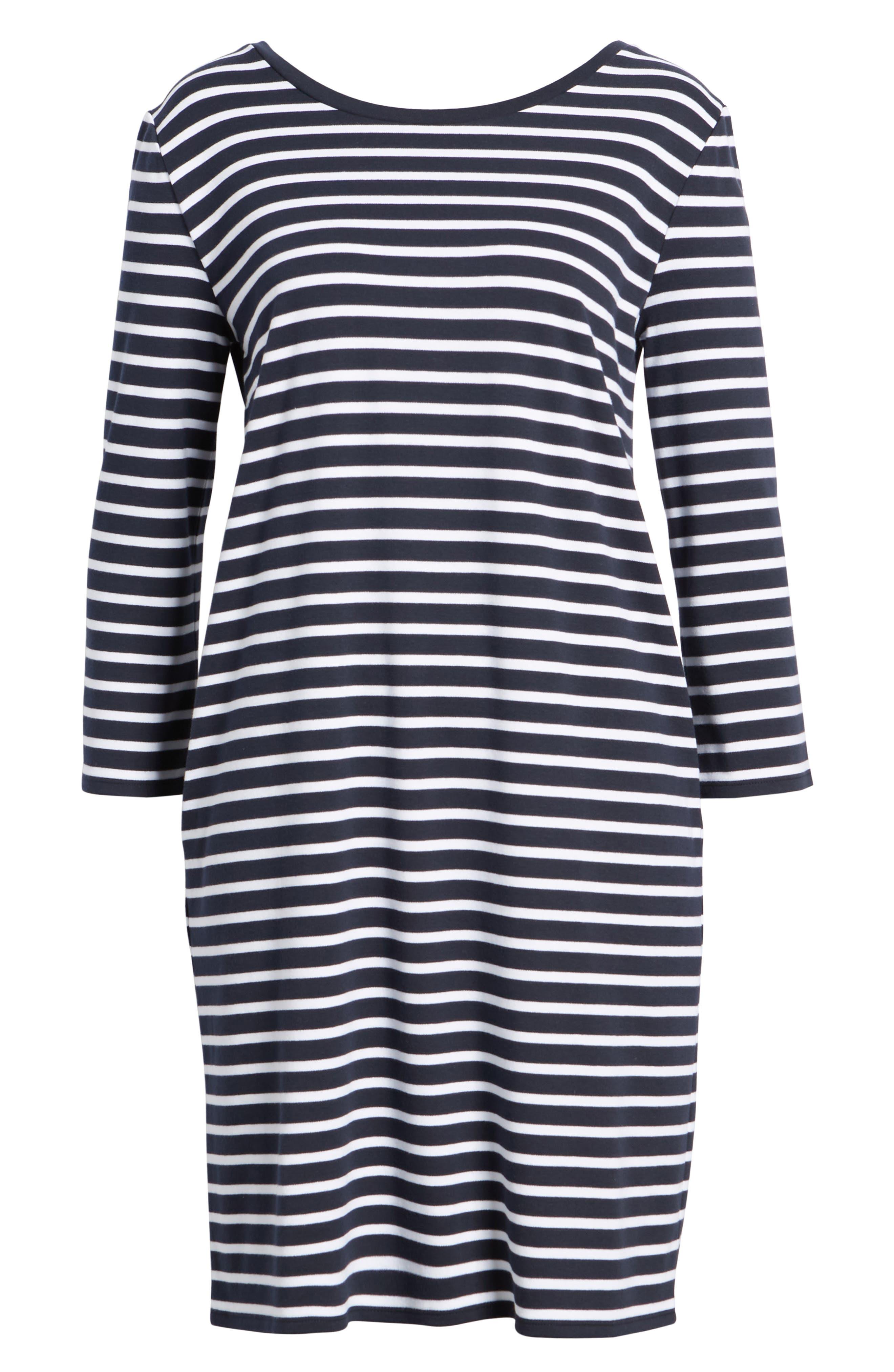 Bow Back Stripe Knit Dress,                             Alternate thumbnail 7, color,                             410