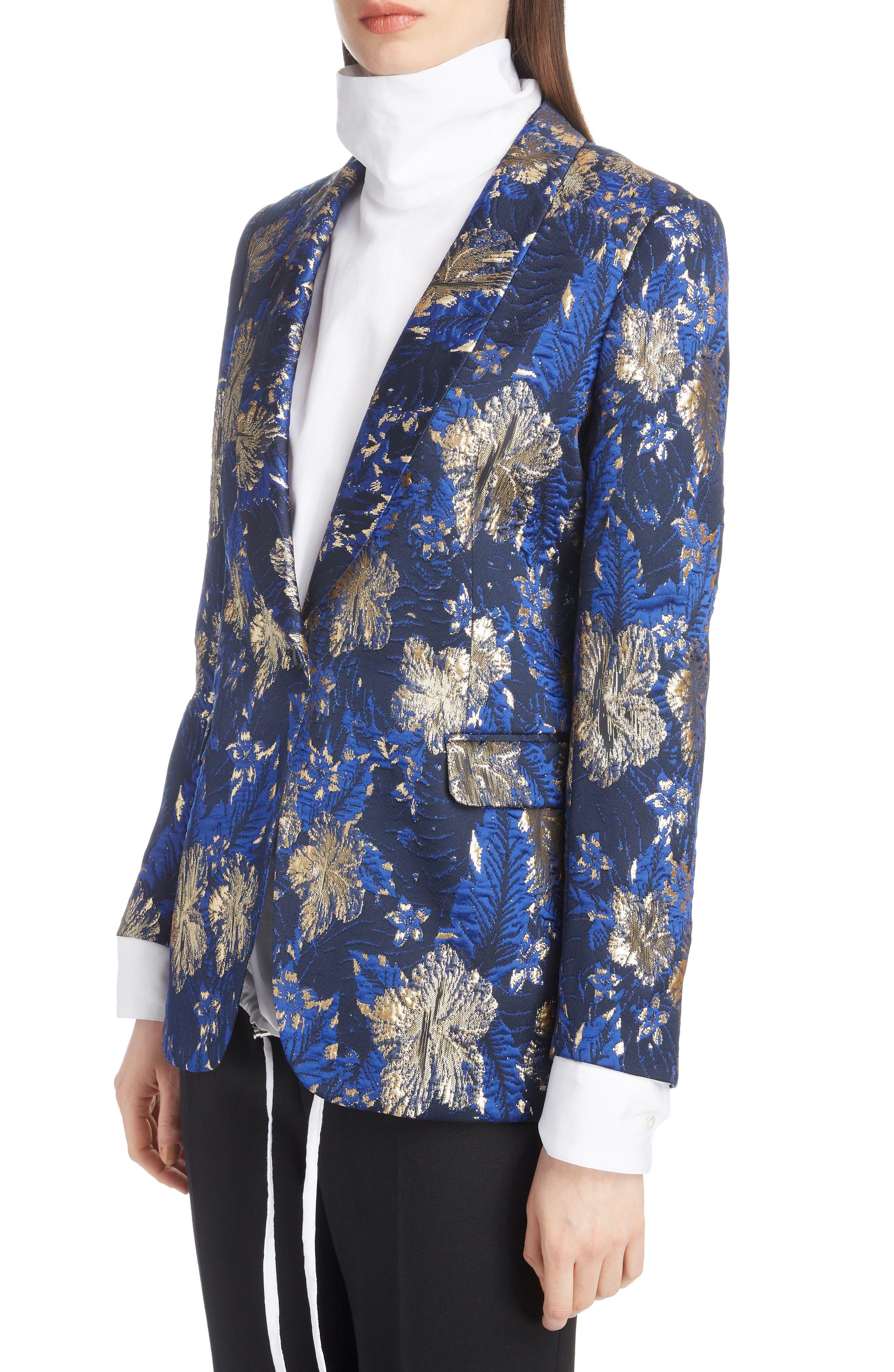 Metallic Floral Jacquard Blazer,                             Alternate thumbnail 4, color,                             BLUE